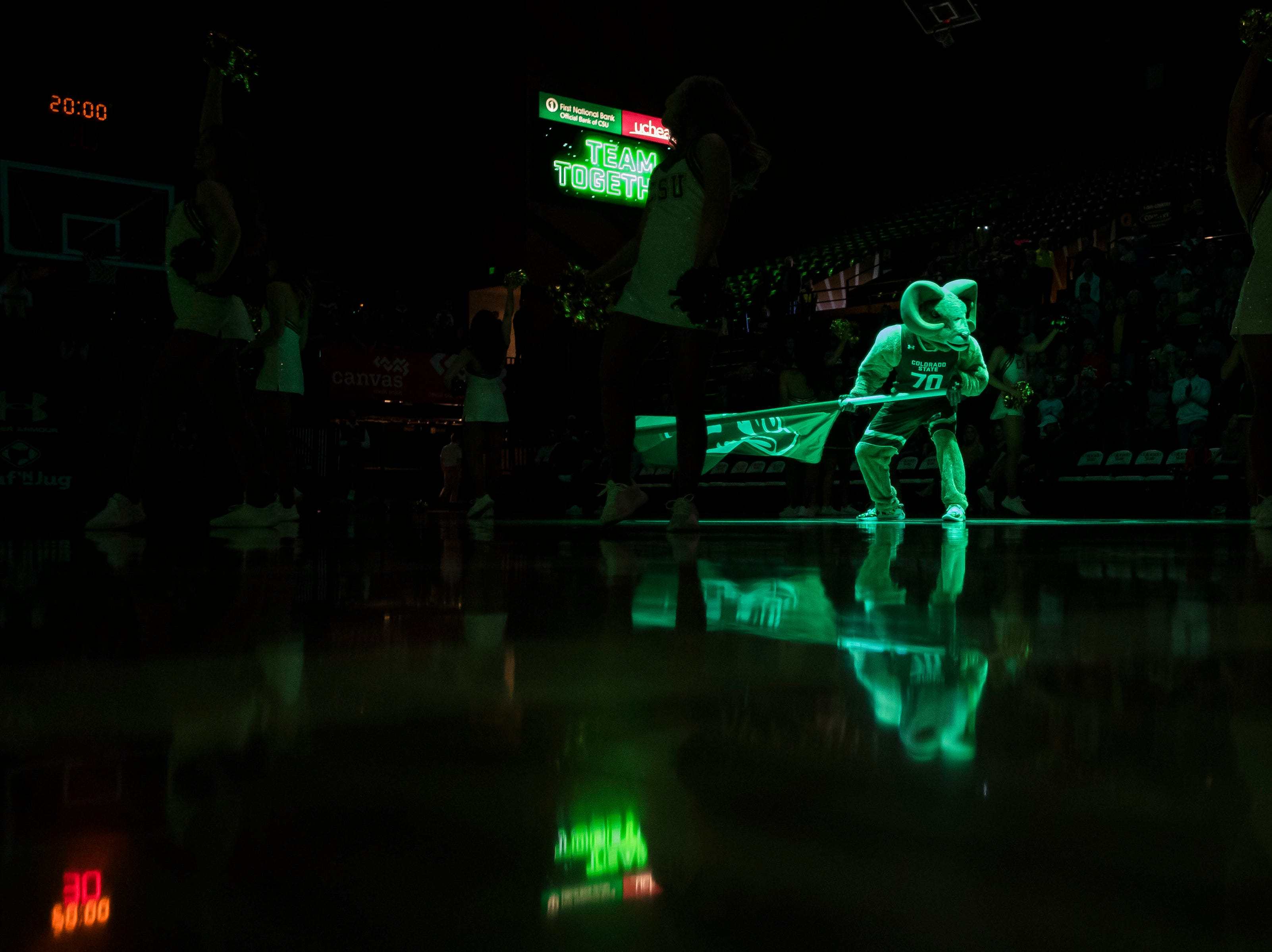 Colorado State University mascot Cam the Ram performs before a game against University of Nevada Las Vegas on Saturday, March 9, 2019, at Moby Arena in Fort Collins, Colo.