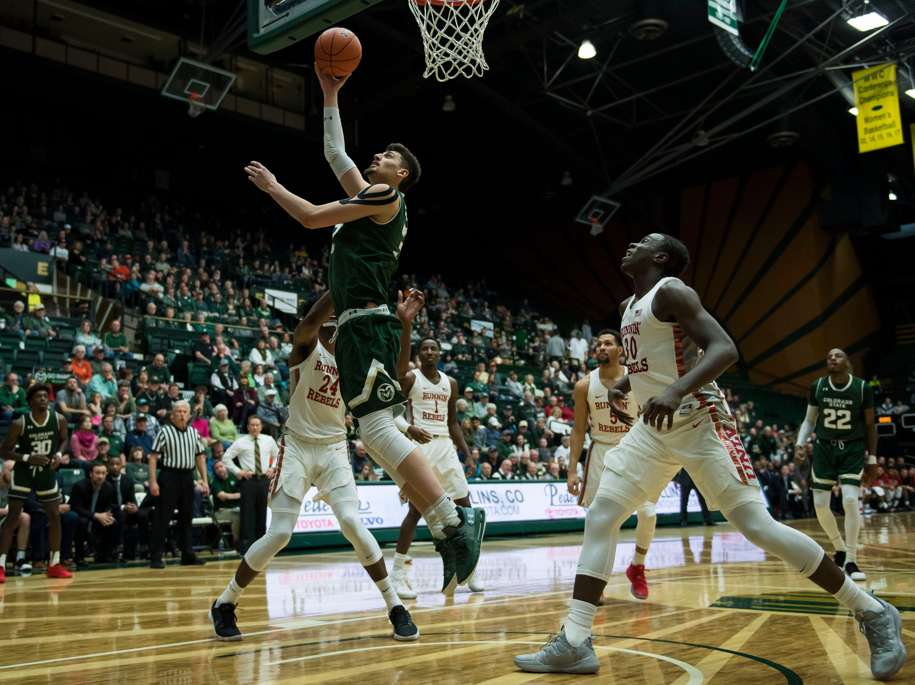 Colorado State University junior center Nico Carvacho (32) puts a shot up during a game against University of Nevada Las Vegas on Saturday, March 9, 2019, at Moby Arena in Fort Collins, Colo.