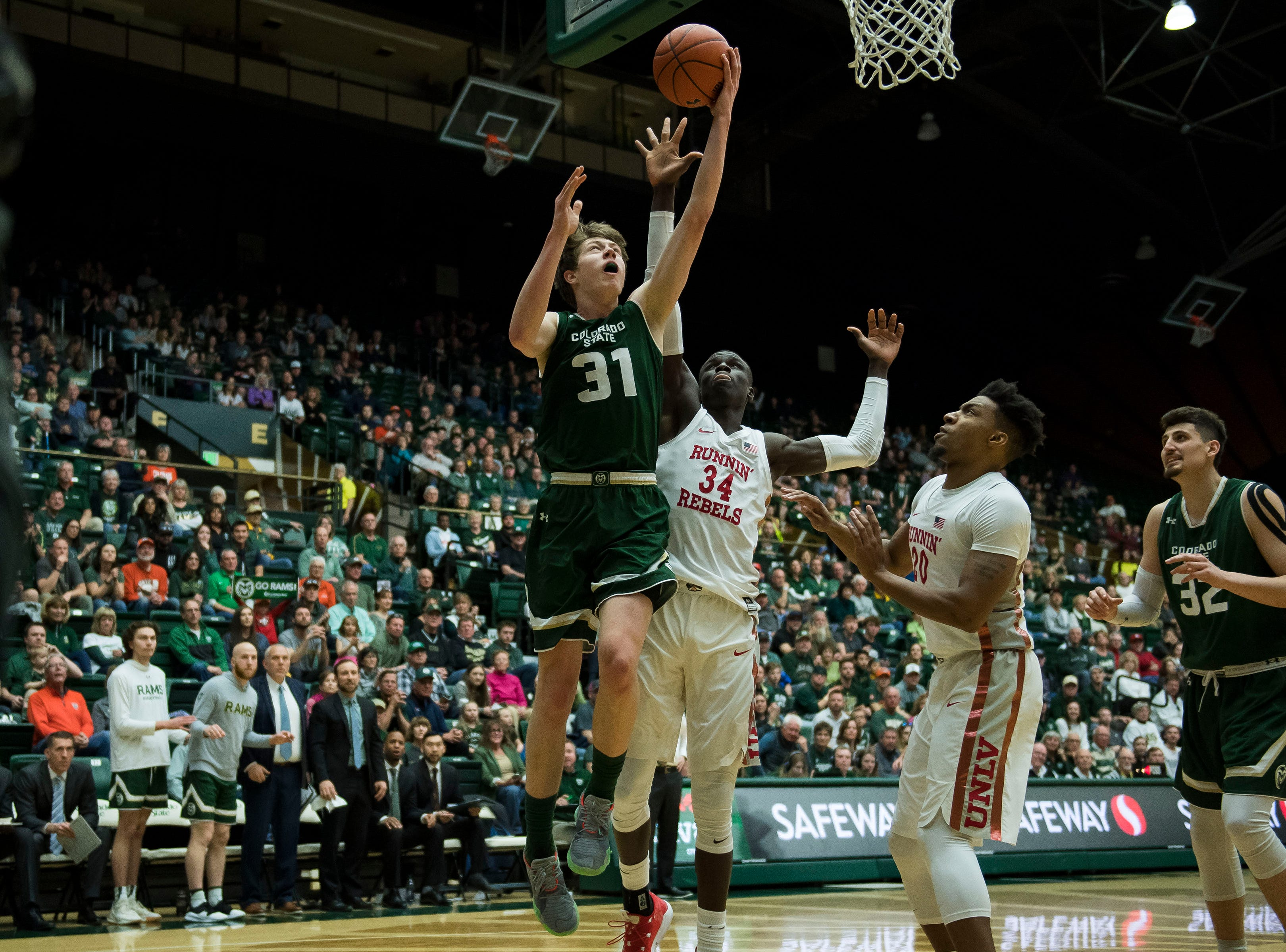 Colorado State University freshman forward Adam Thistlewood (31) puts a shot up during a game against University of Nevada Las Vegas on Saturday, March 9, 2019, at Moby Arena in Fort Collins, Colo.
