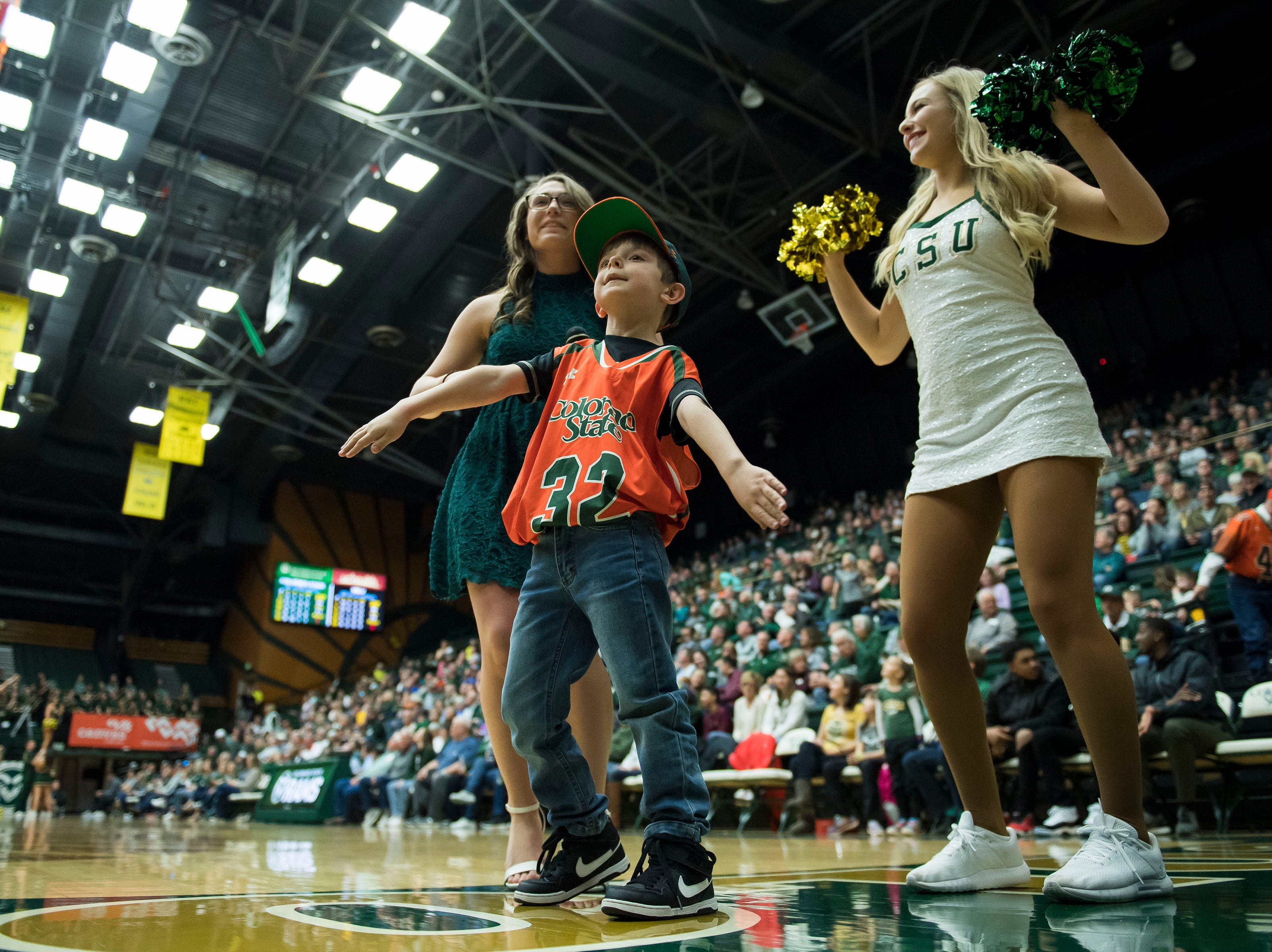 Colorado State University fan Bryce Krisl dances on-camera during a break in the action of a game against University of Nevada Las Vegas on Saturday, March 9, 2019, at Moby Arena in Fort Collins, Colo.
