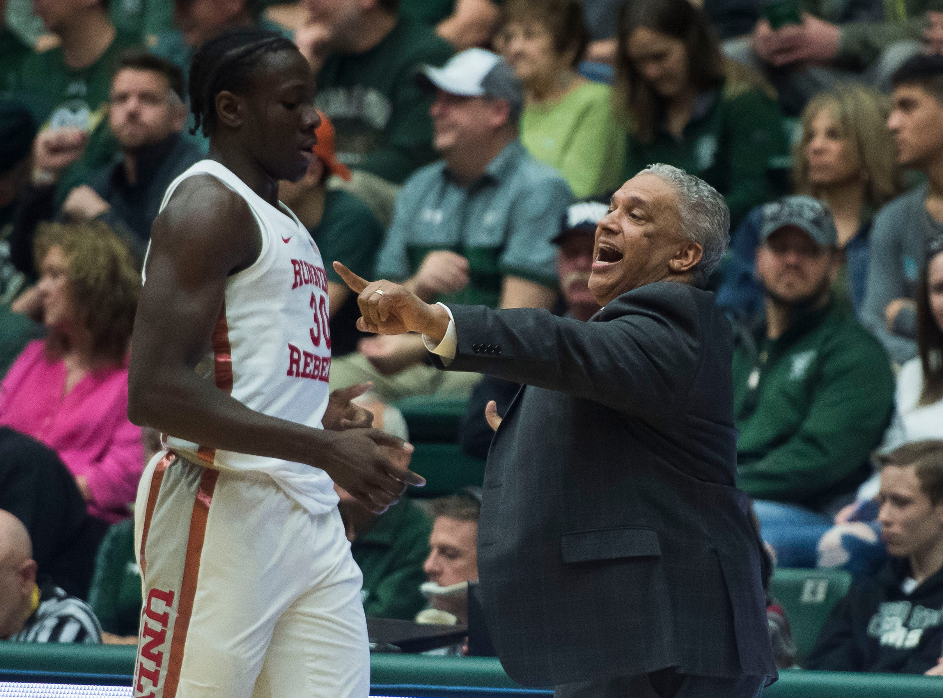University of Nevada Las Vegas head coach Marvin Menzies talks to his players during a game against Colorado State University on Saturday, March 9, 2019, at Moby Arena in Fort Collins, Colo.