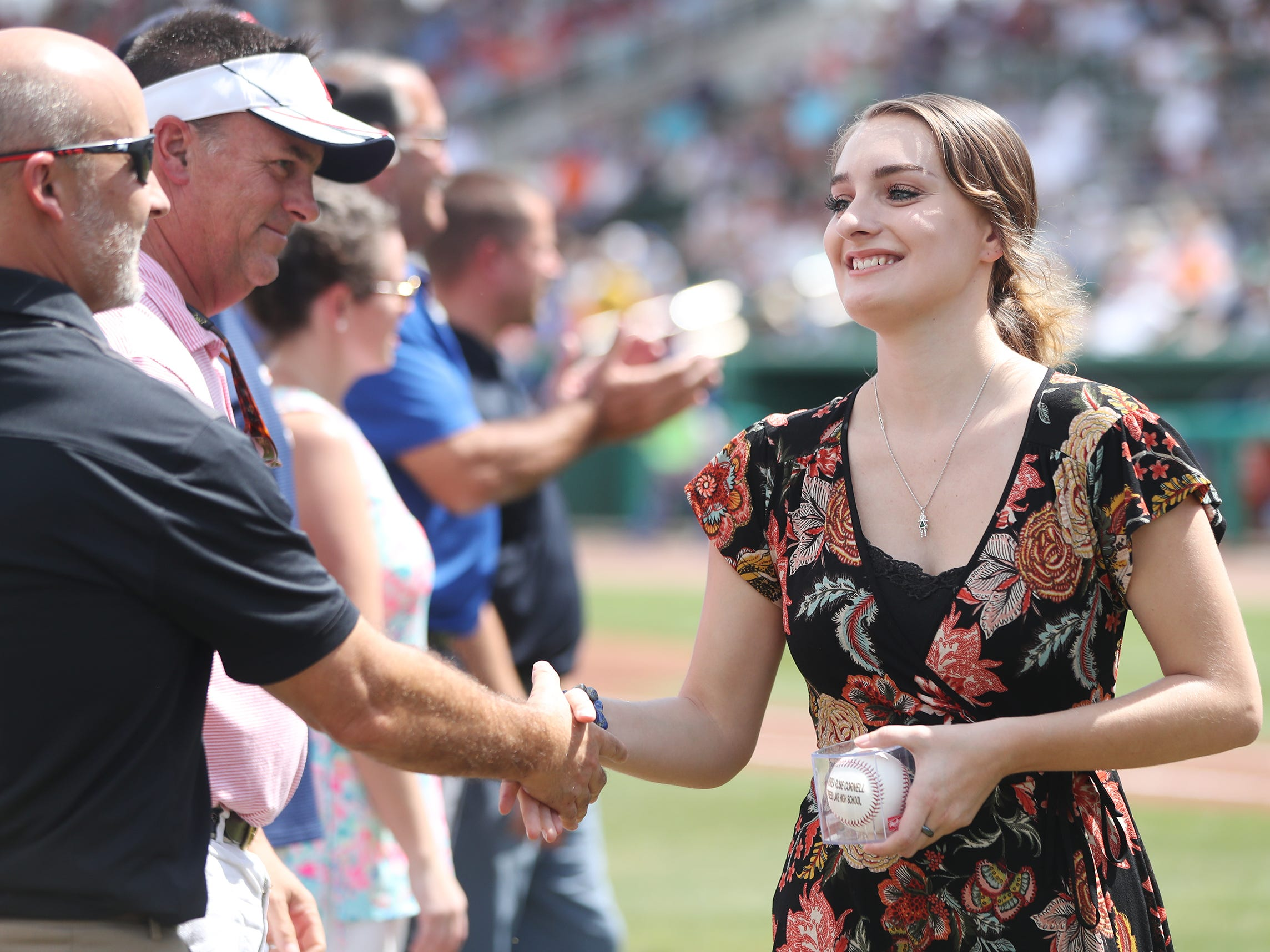 Cypress Lake High School's Andrea Cornell was one of 13 Lee County public high school seniors that received a $5,000 scholarship from the Boston Red Sox Foundation on Saturday before the team's game against the New York Mets at JetBlue Park in Fort Myers. The students' academic achievements and community service efforts were the basis for the honor.