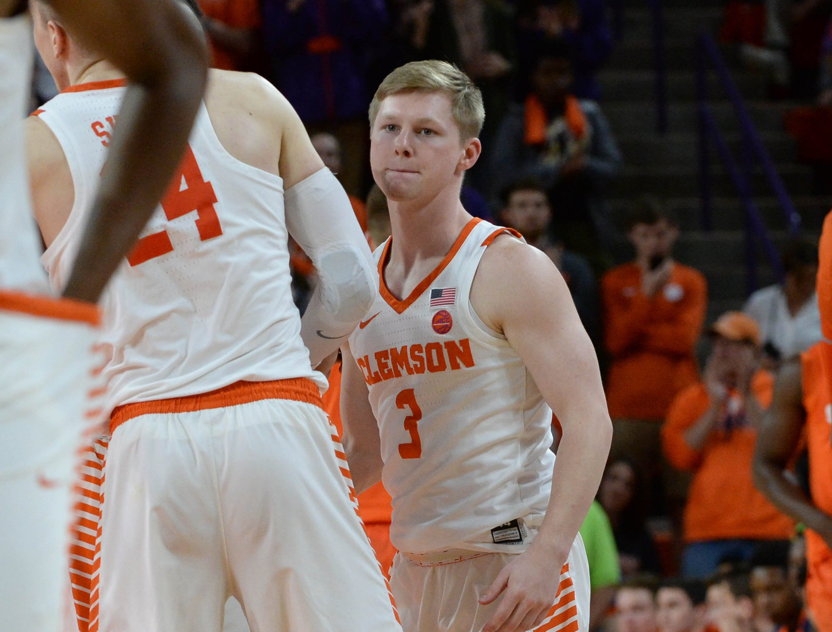 Clemson guard Lyles Davis (3) gets into the game agains Syracuse during the second half in Littlejohn Coliseum in Clemson Saturday, March 9, 2019.