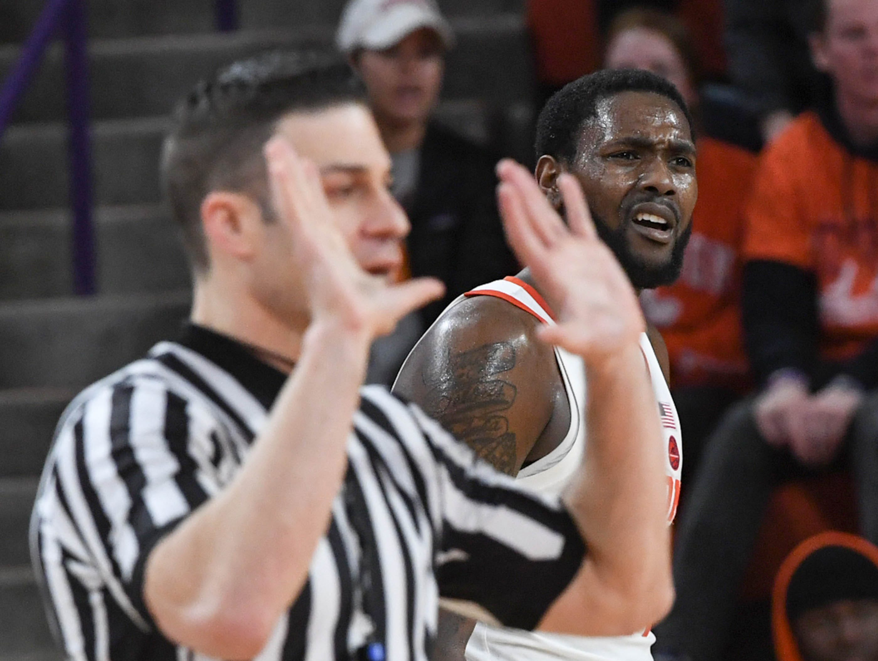 Clemson forward Elijah Thomas (14) appears in disbelief of a call against his team playing Syracuse during the second half in Littlejohn Coliseum in Clemson Saturday, March 9, 2019.