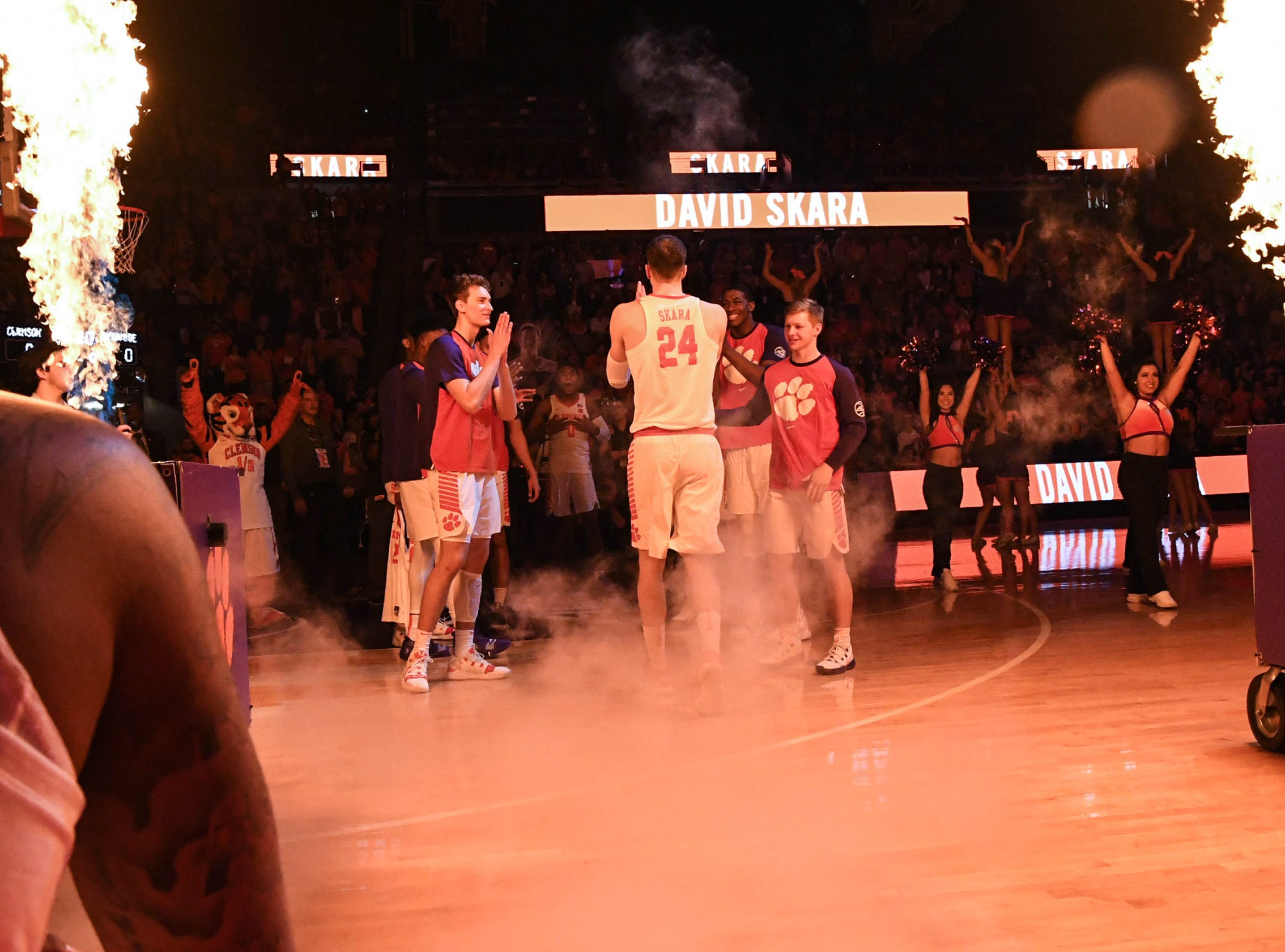 Clemson forward David Skara (24) is introduced before tipoff with Syracuse in Littlejohn Coliseum in Clemson Saturday, March 9, 2019.