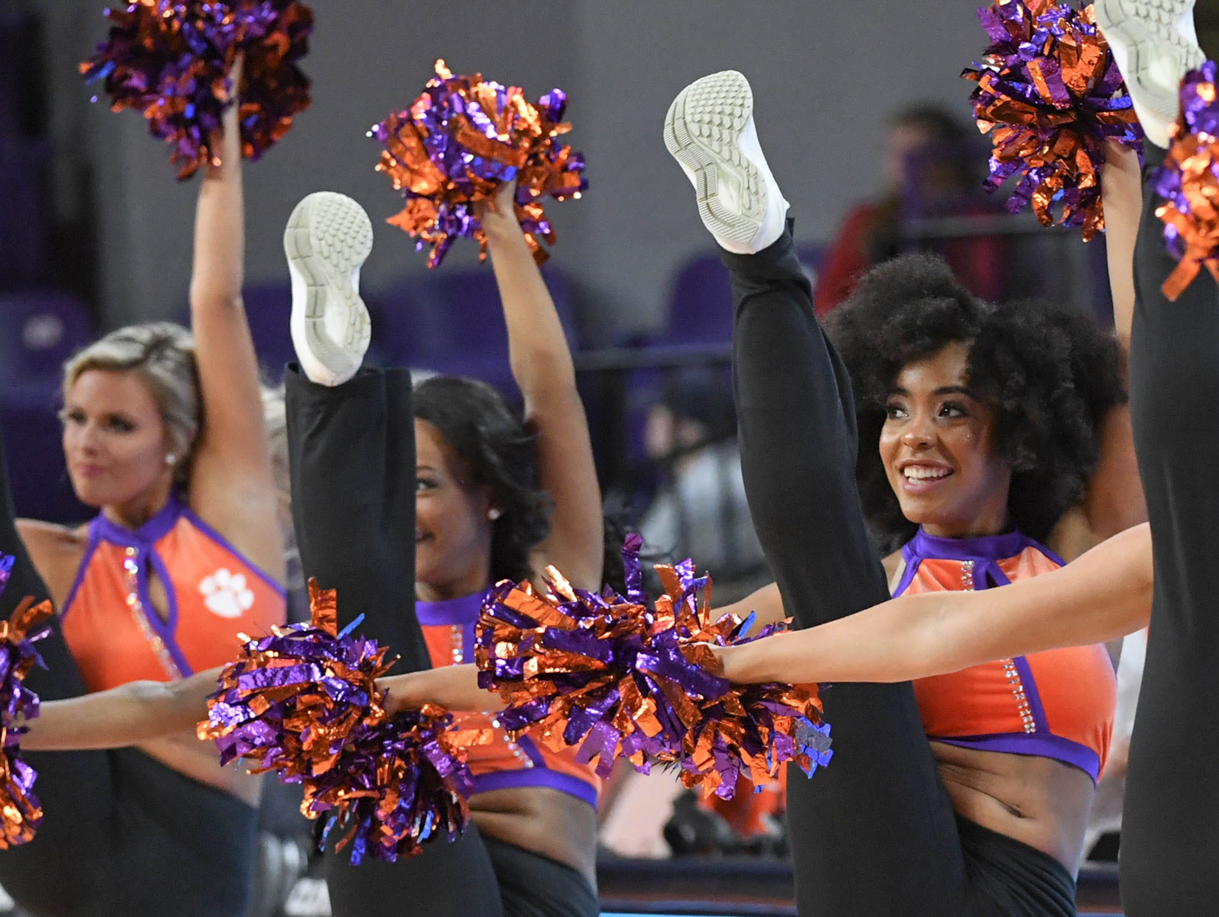 Clemson Rally Cats dance at a break during the first half in Littlejohn Coliseum in Clemson Saturday, March 9, 2019.