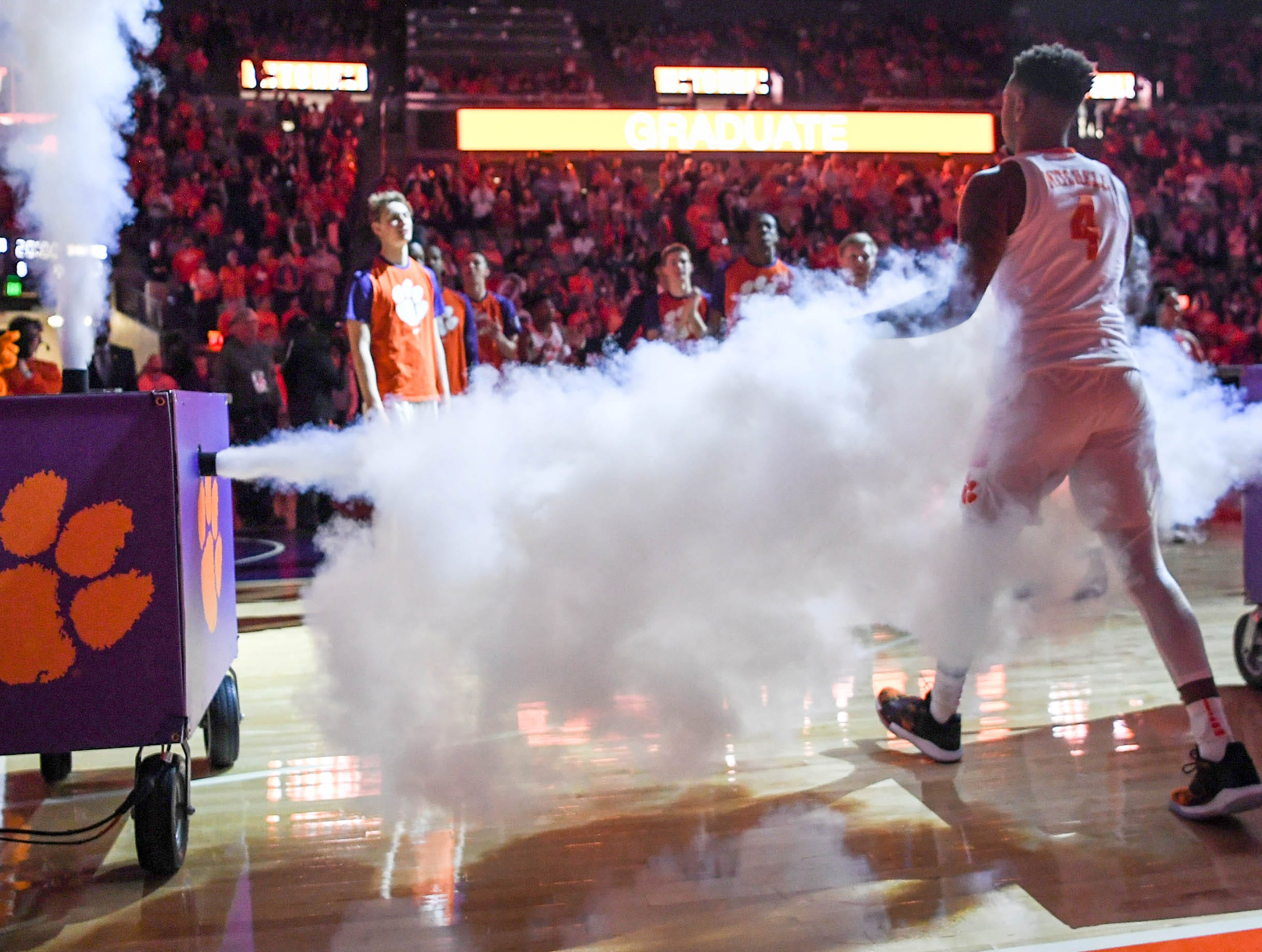 Clemson guard Shelton Mitchell (4) is introduced before tipoff with Syracuse in Littlejohn Coliseum in Clemson Saturday, March 9, 2019.