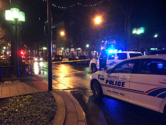 A pedestrian was struck by a vehicle on Main Street near East McBee Avenue Friday night.