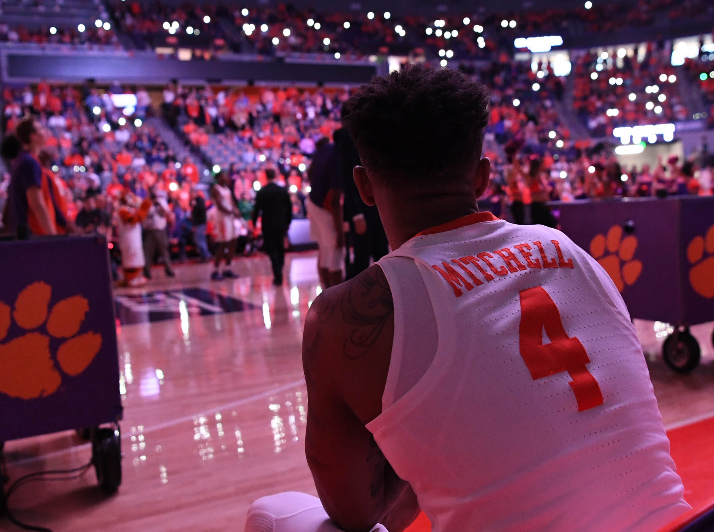 Clemson guard Shelton Mitchell (4) waits to be introduced before tipoff with Syracuse in Littlejohn Coliseum in Clemson Saturday, March 9, 2019.