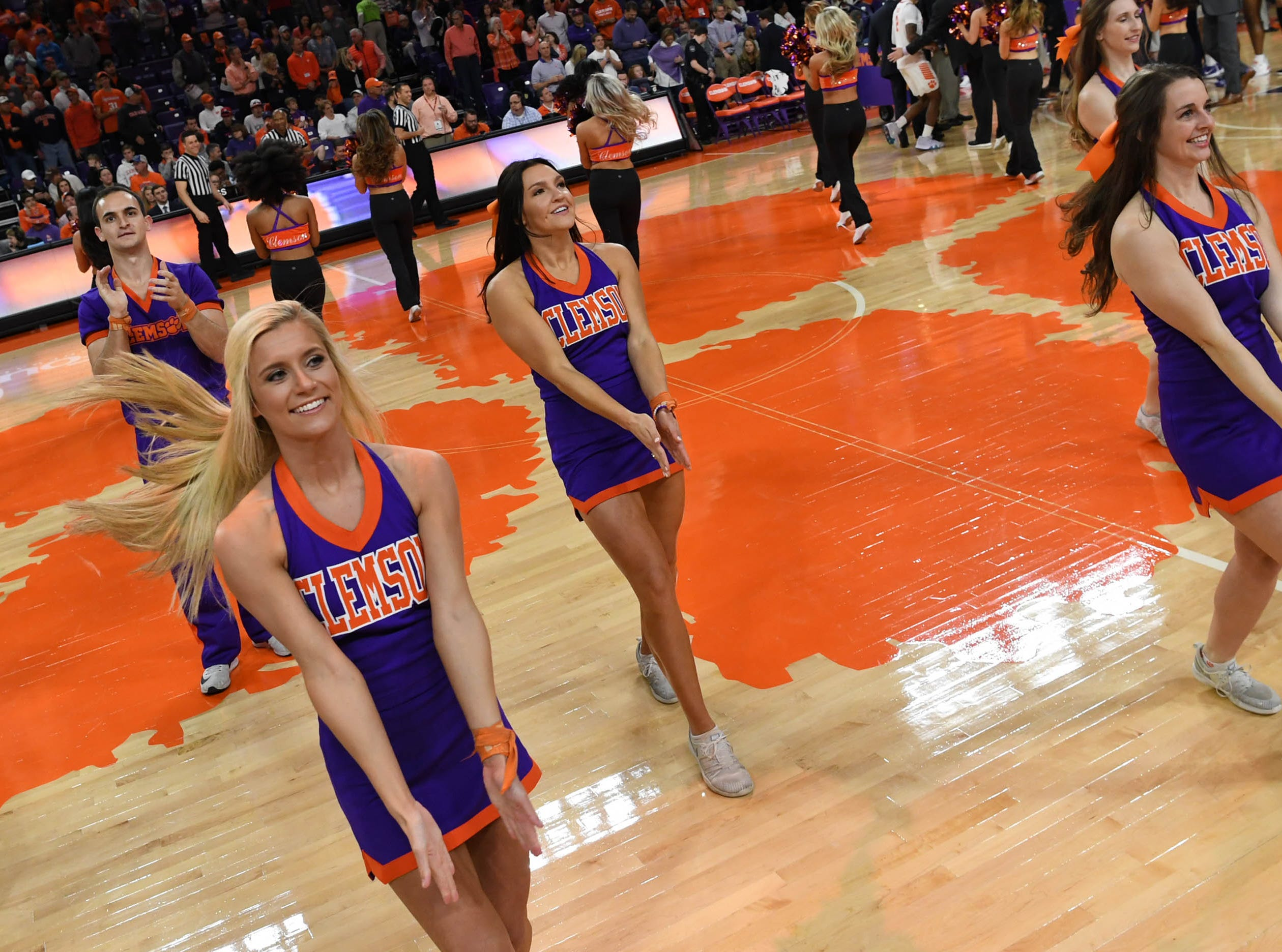 Clemson cheerleaders before tipoff with Syracuse in Littlejohn Coliseum in Clemson Saturday, March 9, 2019.