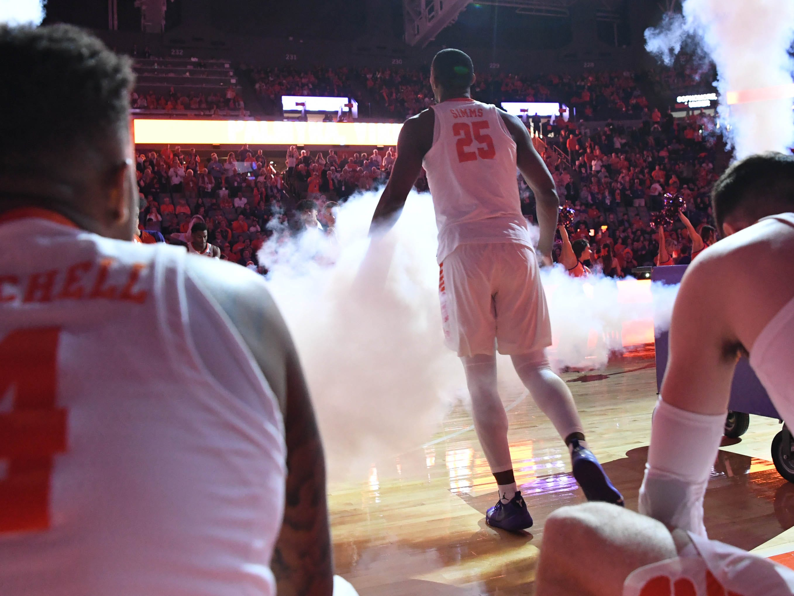 Clemson forward Aamir Simms (25) is introduced before tipoff with Syracuse in Littlejohn Coliseum in Clemson Saturday, March 9, 2019.