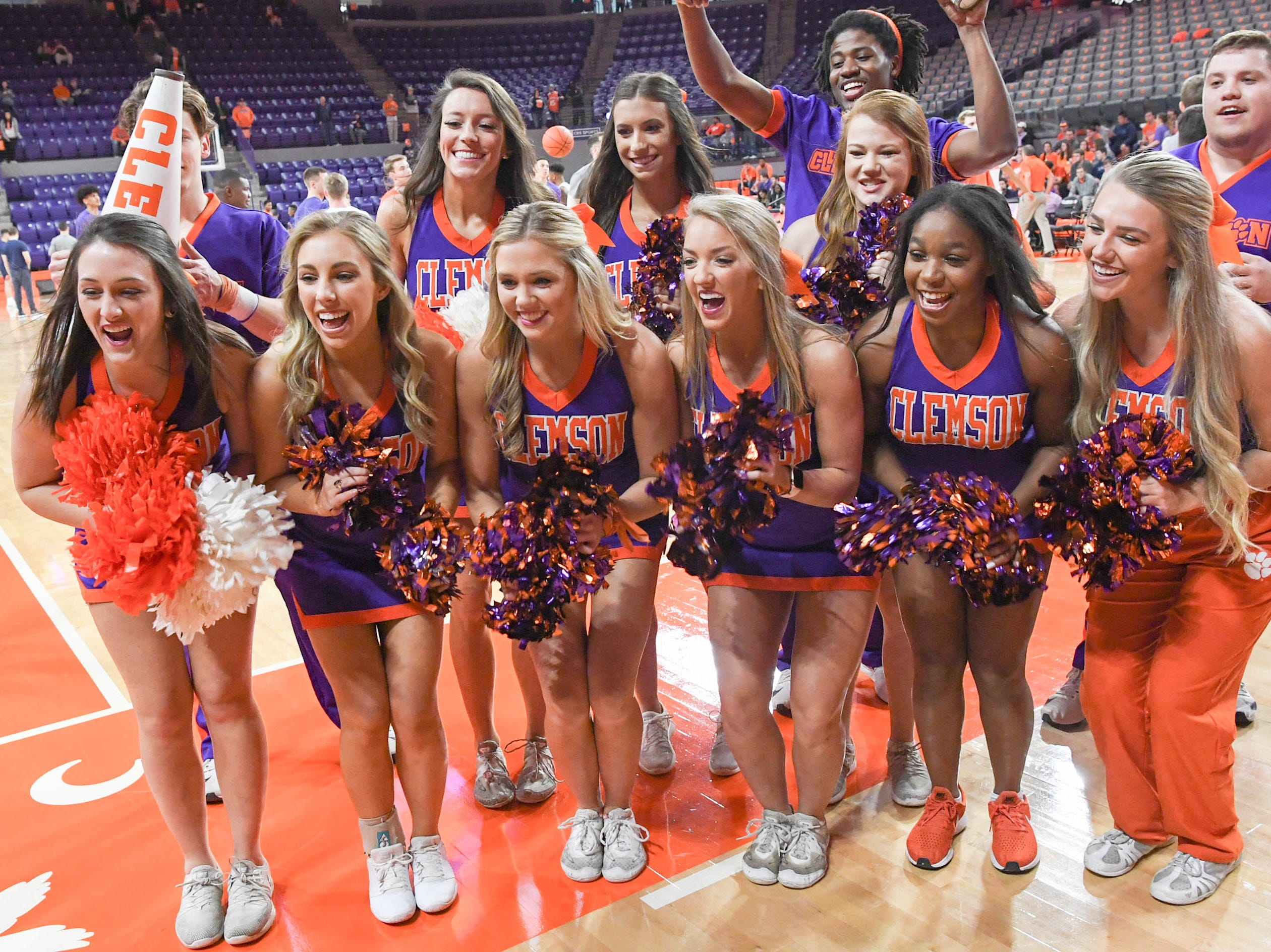 Clemson cheerleaders pose during the first half in Littlejohn Coliseum in Clemson Saturday, March 9, 2019.