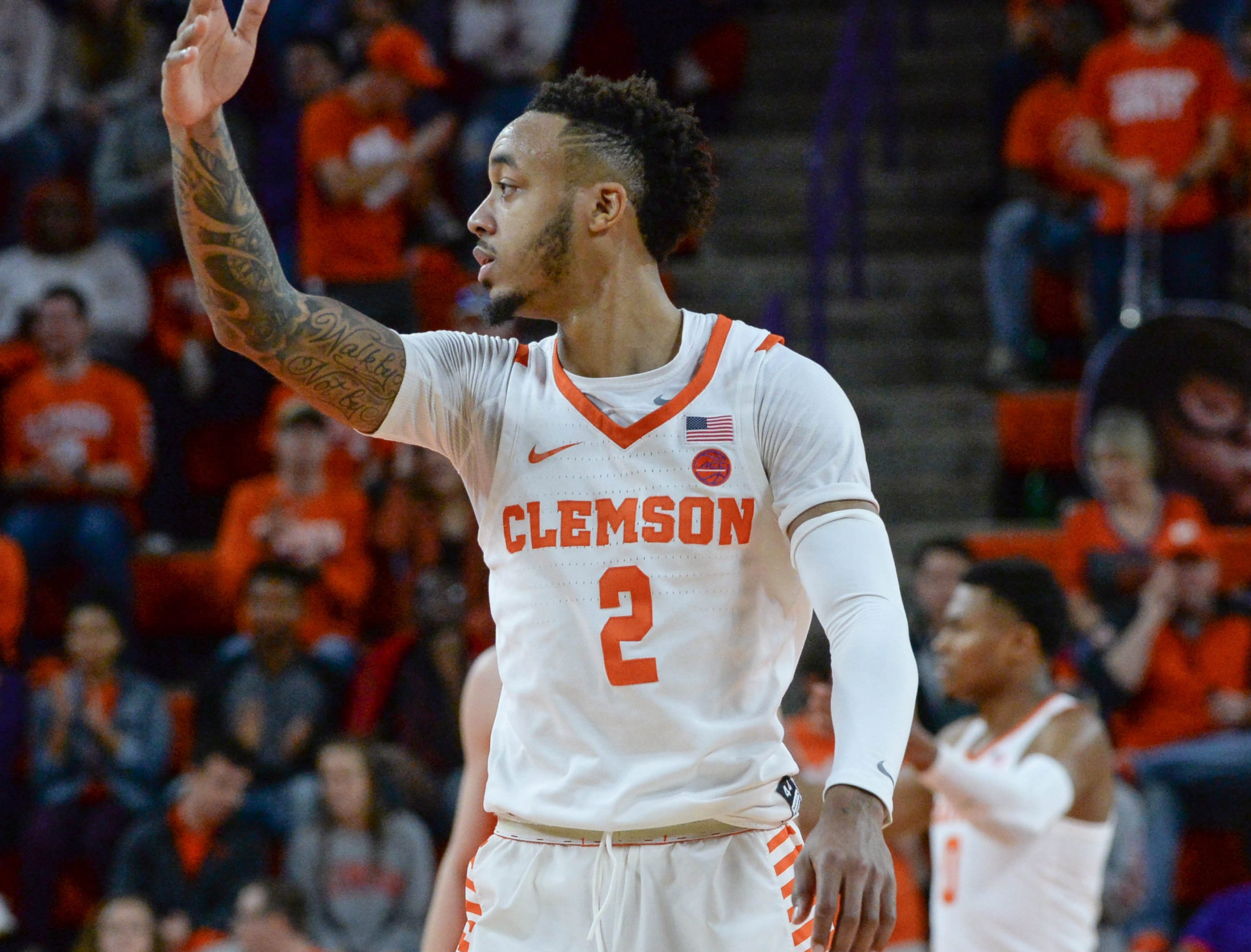 Clemson guard Marcquise Reed (2) signals a turnover in the Syracuse game during the second half in Littlejohn Coliseum in Clemson Saturday, March 9, 2019.