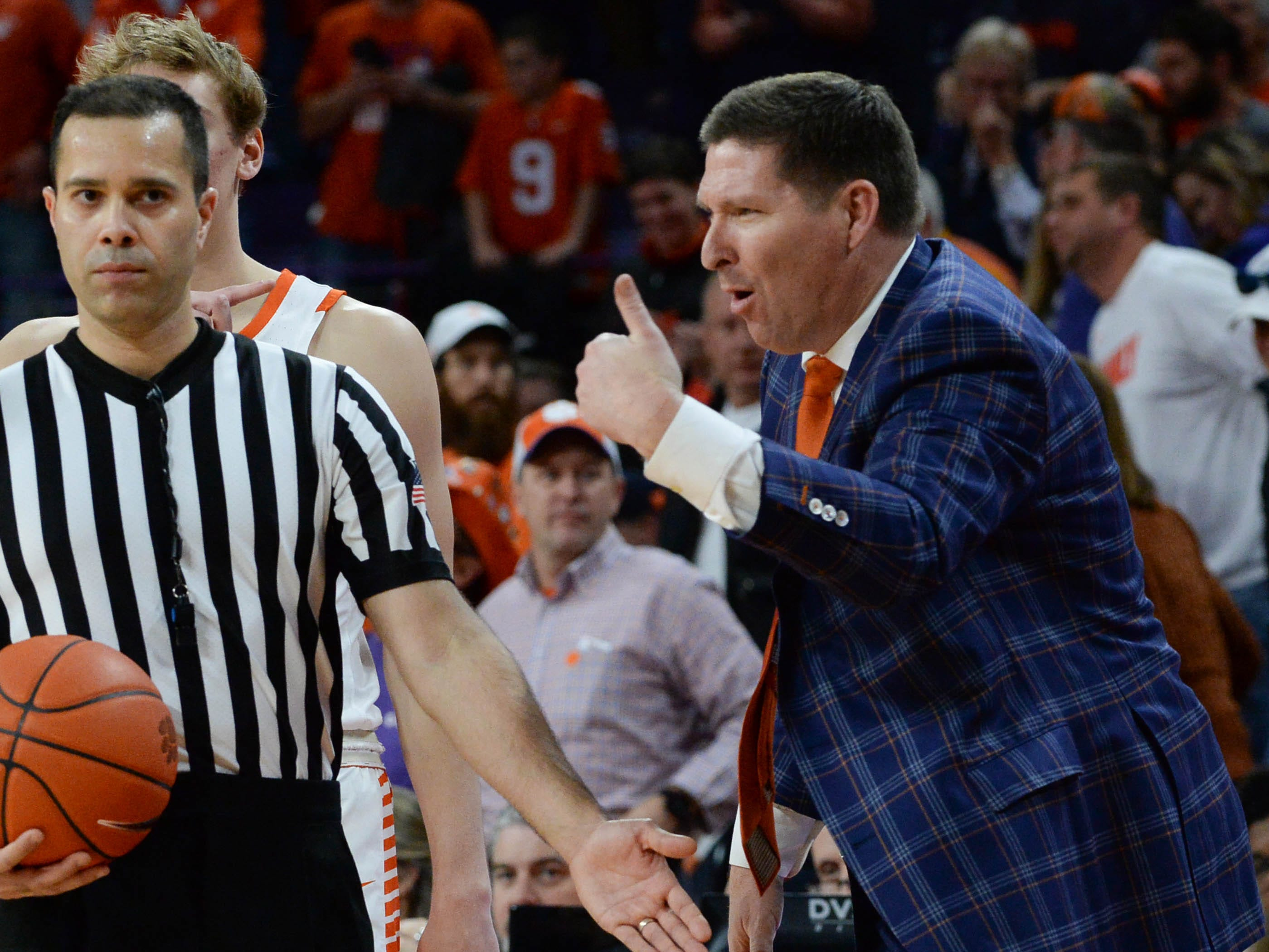 Clemson head coach Brad Brownell  during the second half in Littlejohn Coliseum in Clemson Saturday, March 9, 2019.