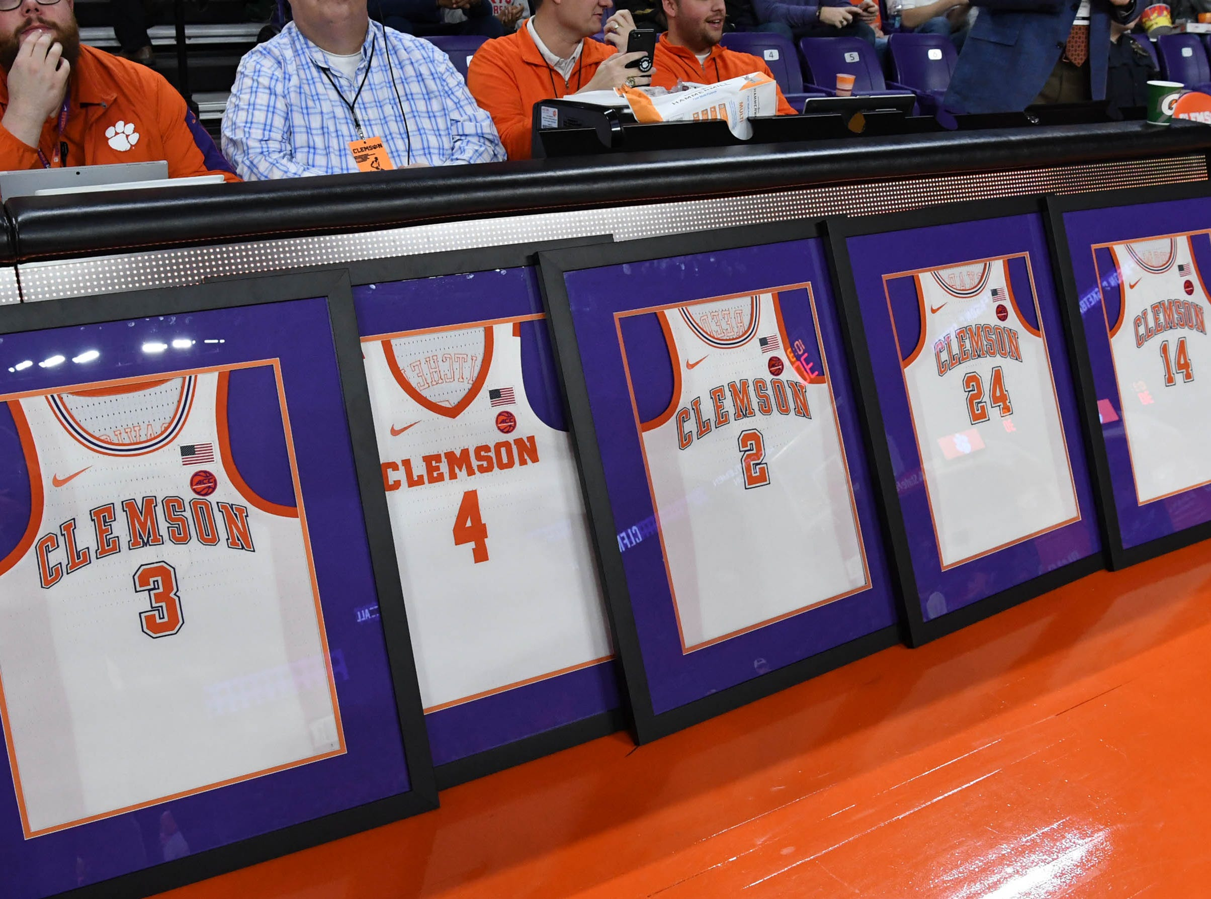 Clemson seniors were honored before the game with Syracuse in Littlejohn Coliseum in Clemson Saturday, March 9, 2019.