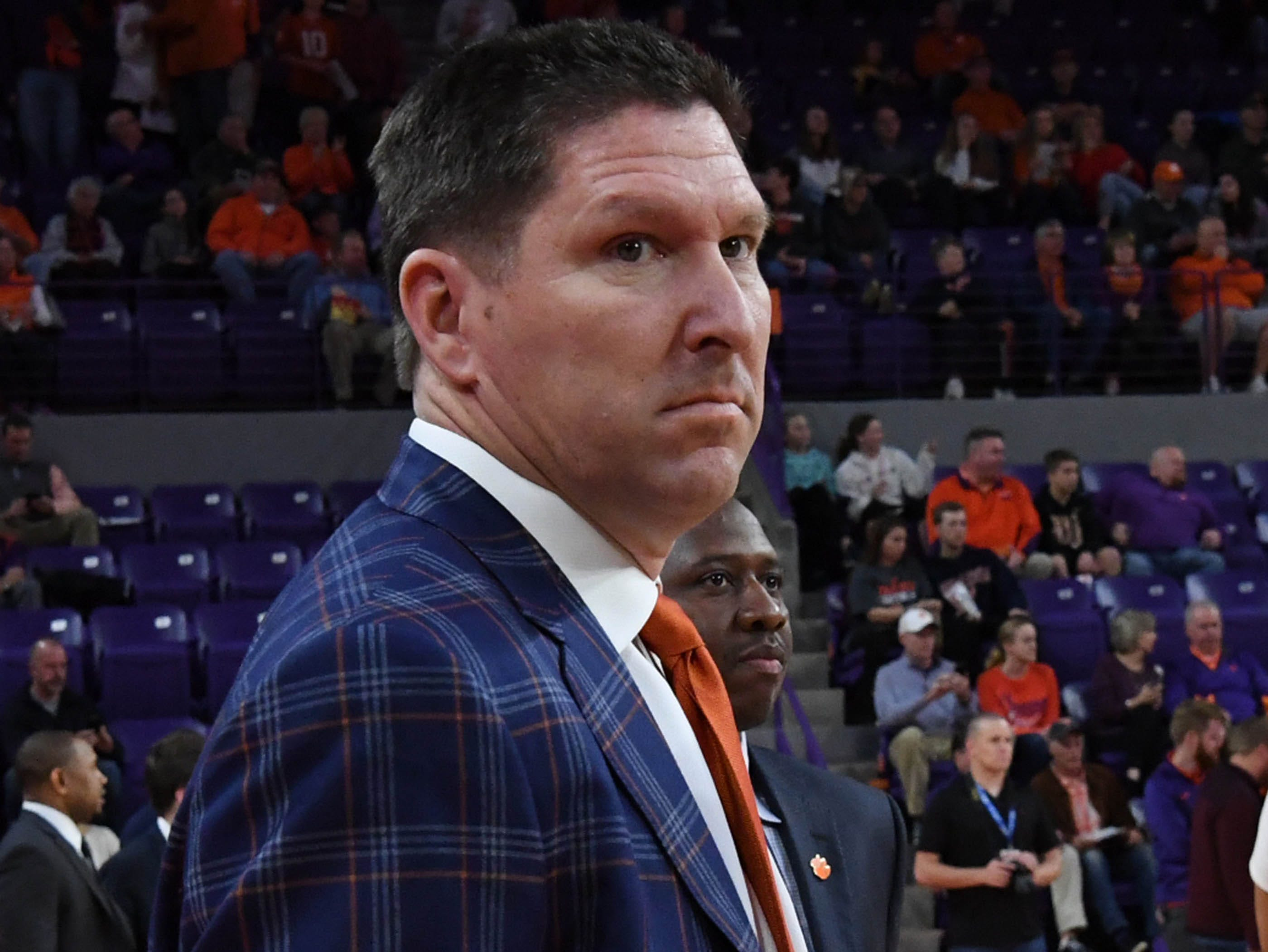 Clemson head coach Brad Brownell before tipoff with Syracuse in Littlejohn Coliseum in Clemson Saturday, March 9, 2019.