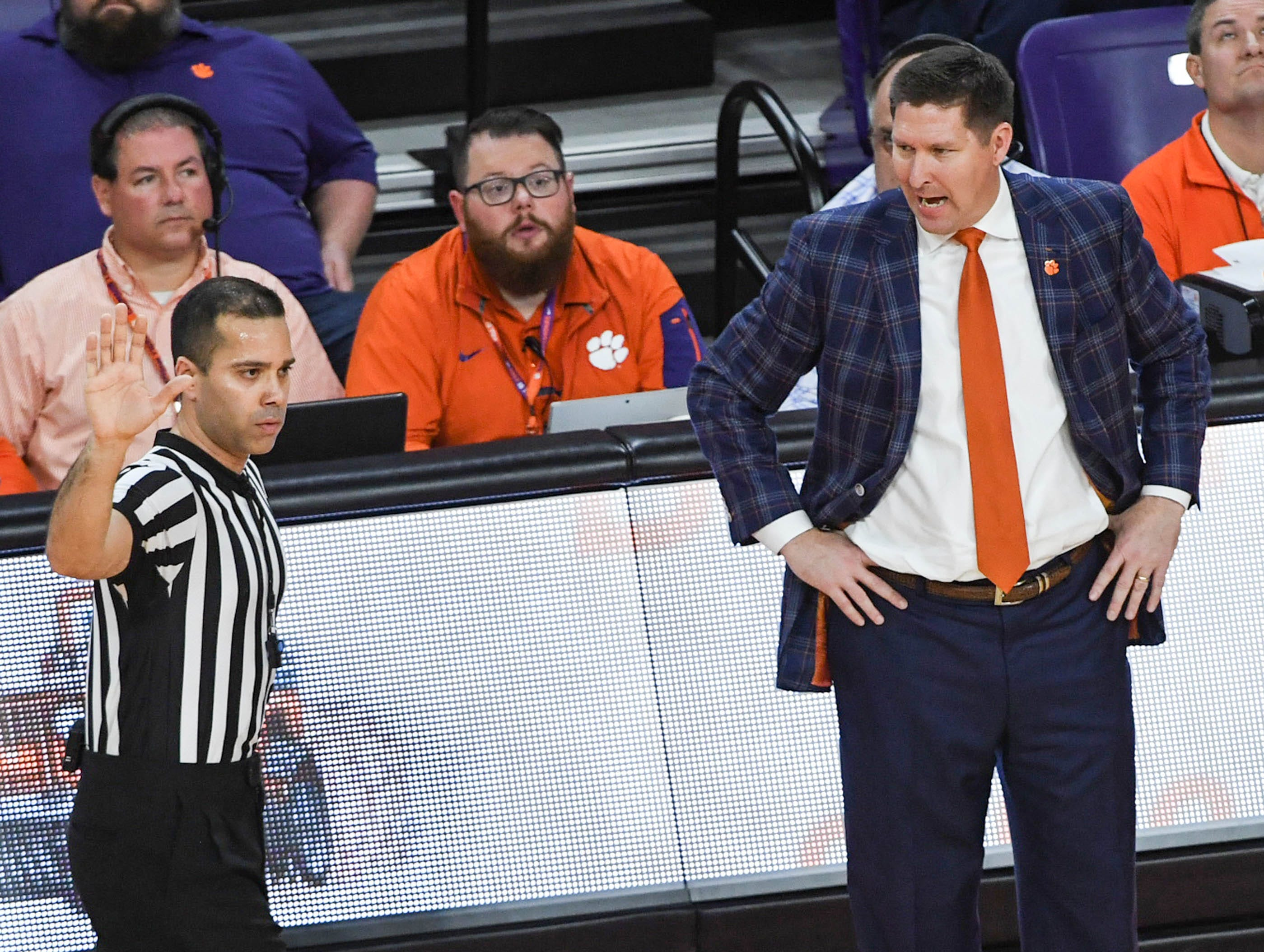 Clemson head coach Brad Brownell argues with a referee in the Syracuse game during the first half in Littlejohn Coliseum in Clemson Saturday, March 9, 2019.