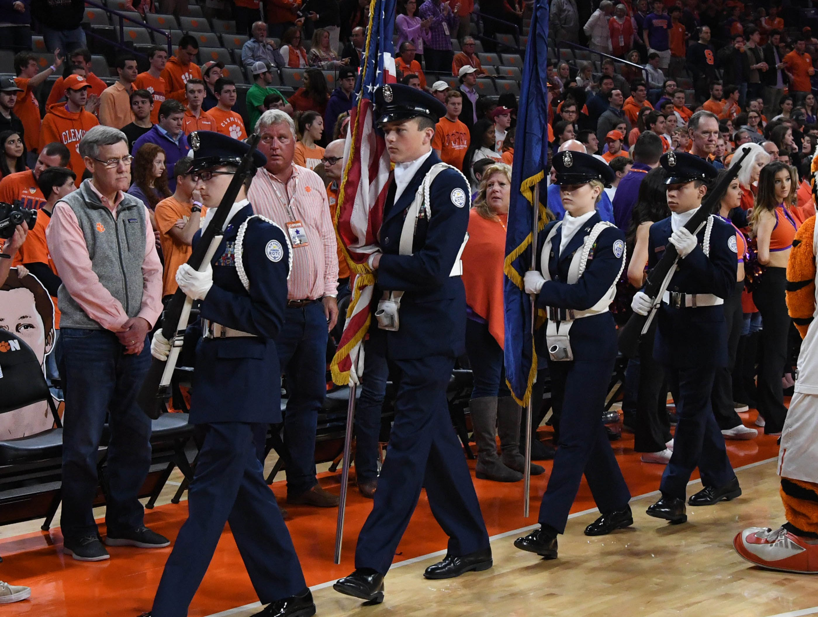 The D.W. Daniel Air Force JROTC honor guard before tipoff with Syracuse in Littlejohn Coliseum in Clemson Saturday, March 9, 2019.