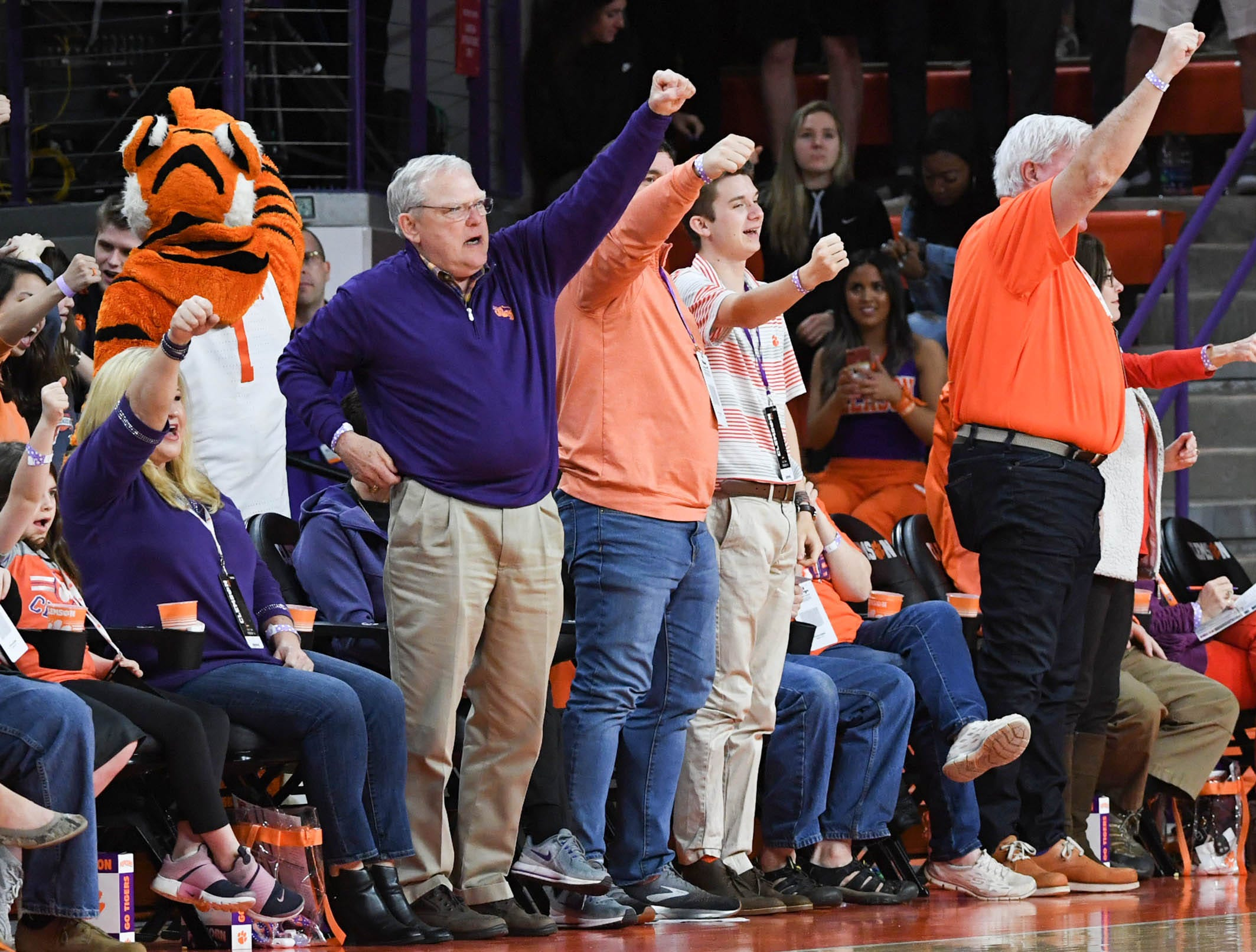 Clemson fans cheer during the second half in Littlejohn Coliseum in Clemson Saturday, March 9, 2019.