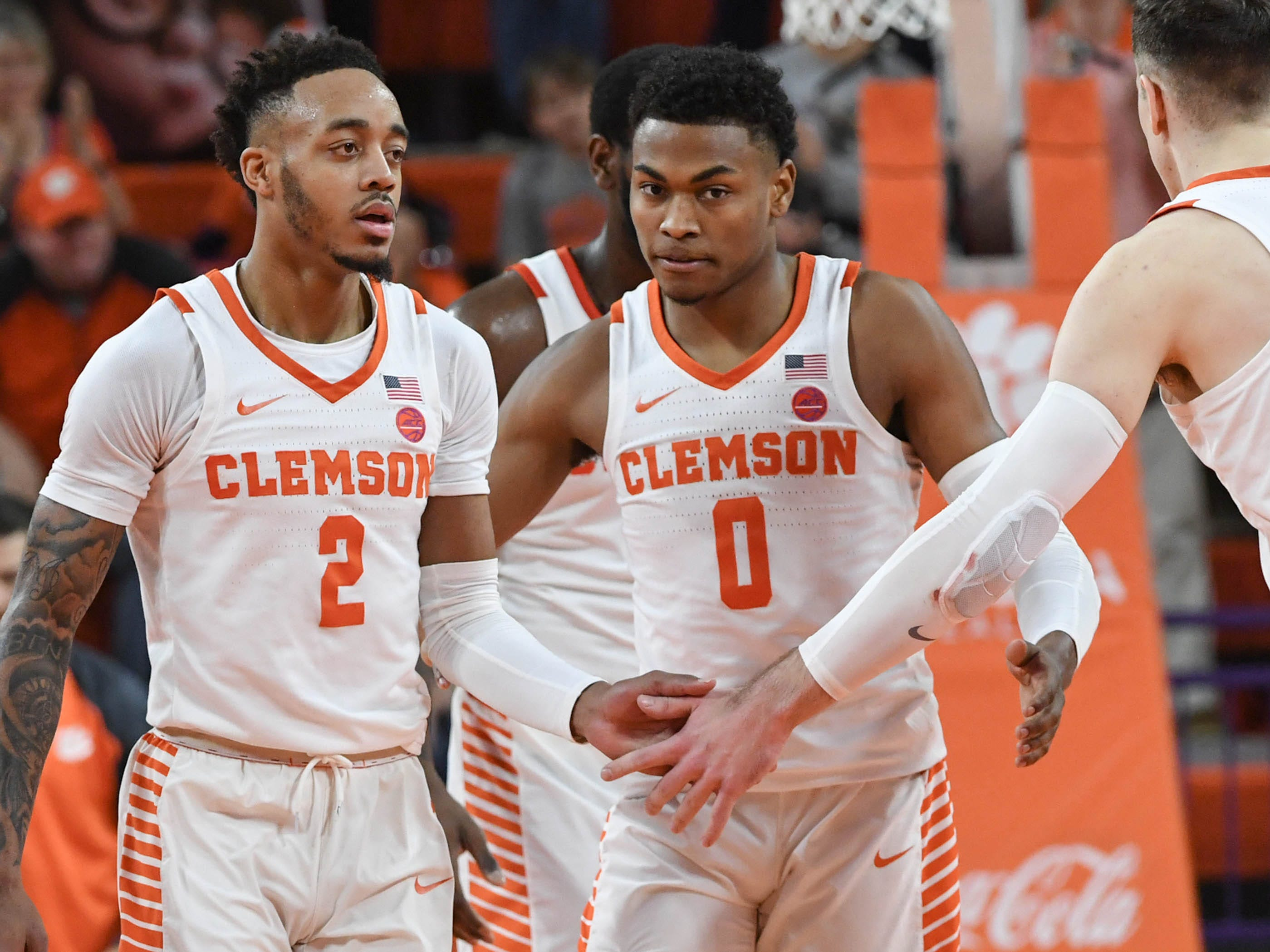 Clemson guard Marcquise Reed (2) and Clemson center Clyde Trapp (0) during the second half in Littlejohn Coliseum in Clemson Saturday, March 9, 2019.