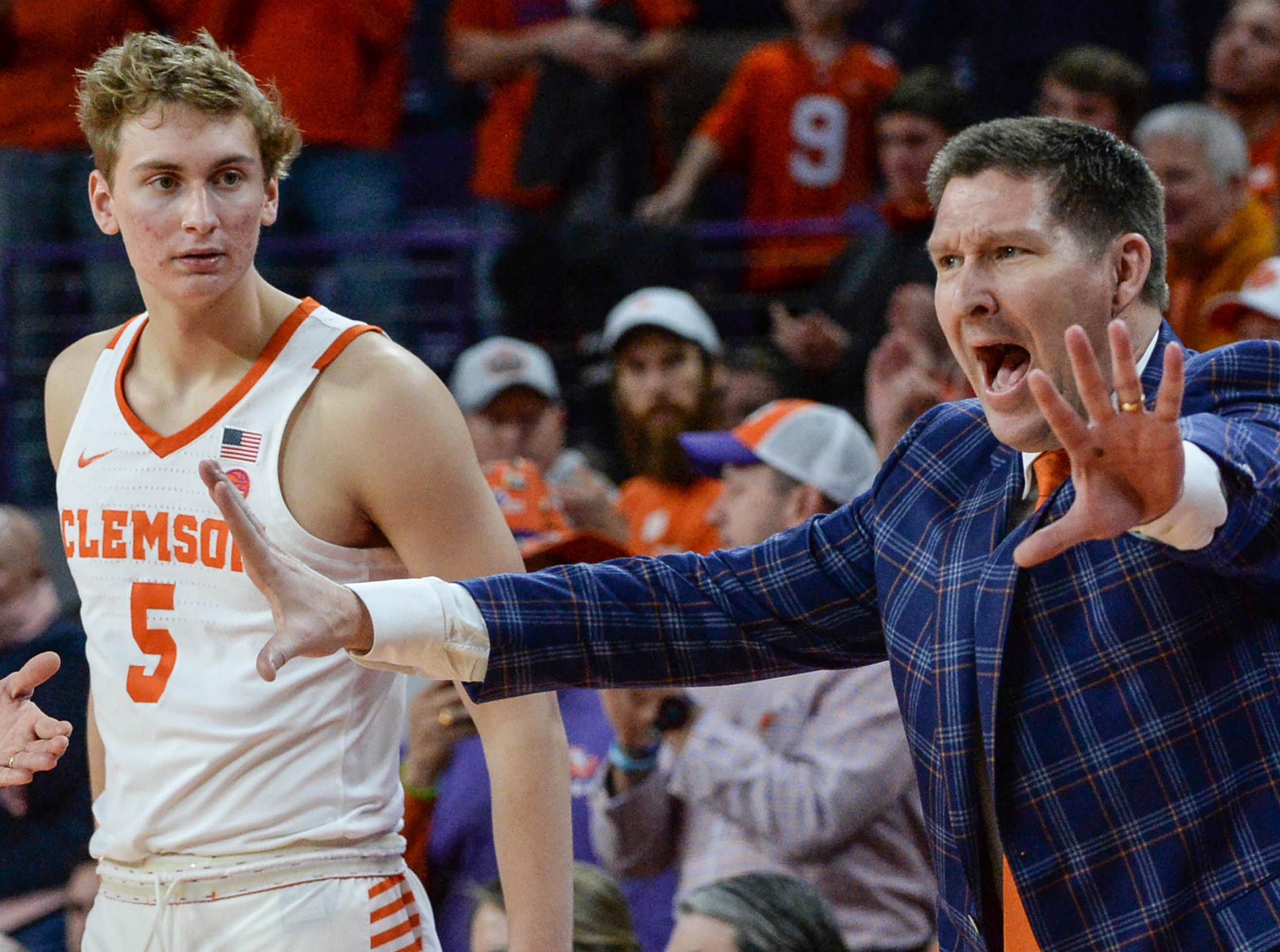 Clemson head coach Brad Brownell communicates with his team playing Syracuse during the second half in Littlejohn Coliseum in Clemson Saturday, March 9, 2019.