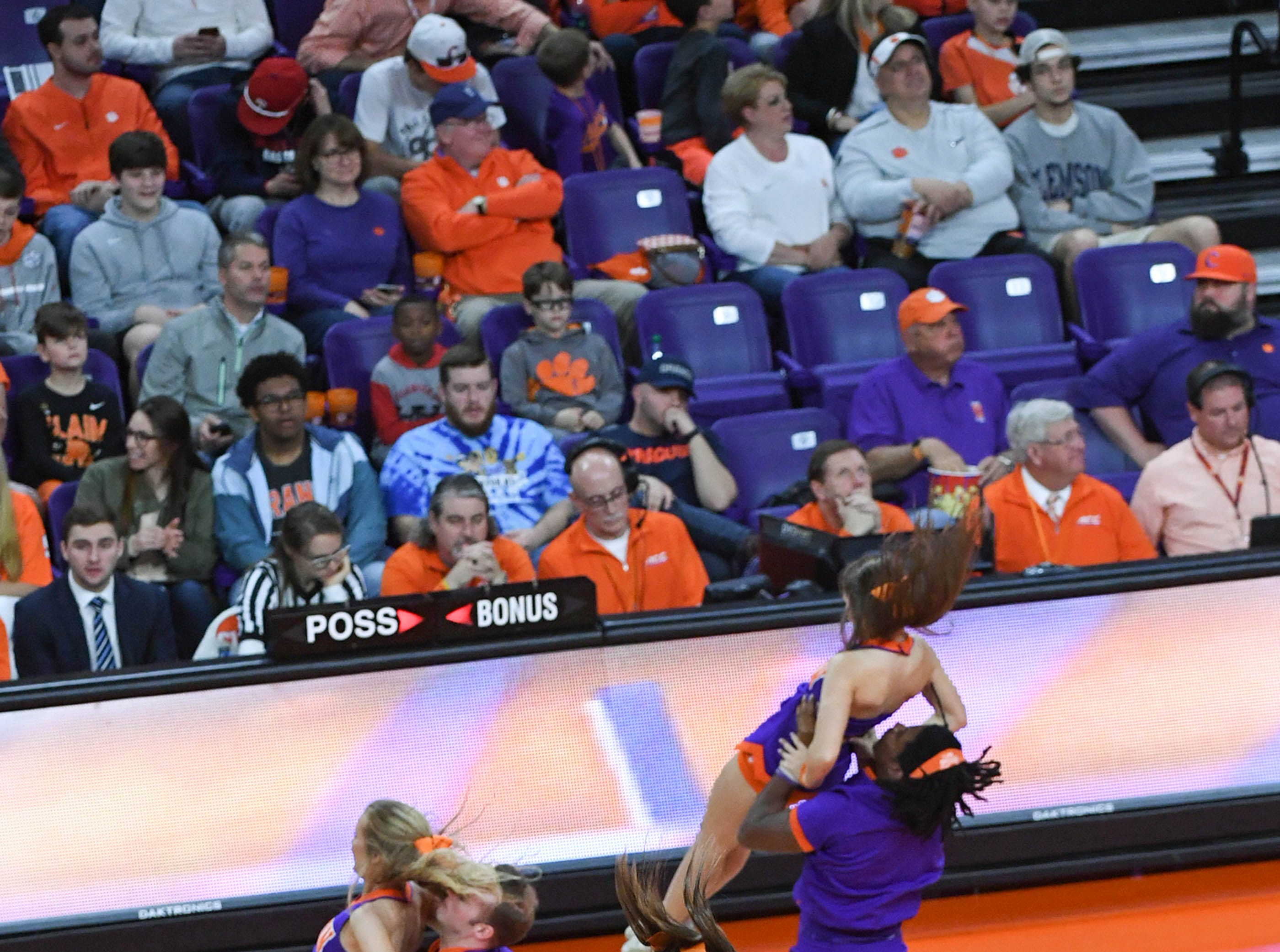 Clemson cheerleaders perform a routine in a break at the Syracuse game, during the first half in Littlejohn Coliseum in Clemson Saturday, March 9, 2019.
