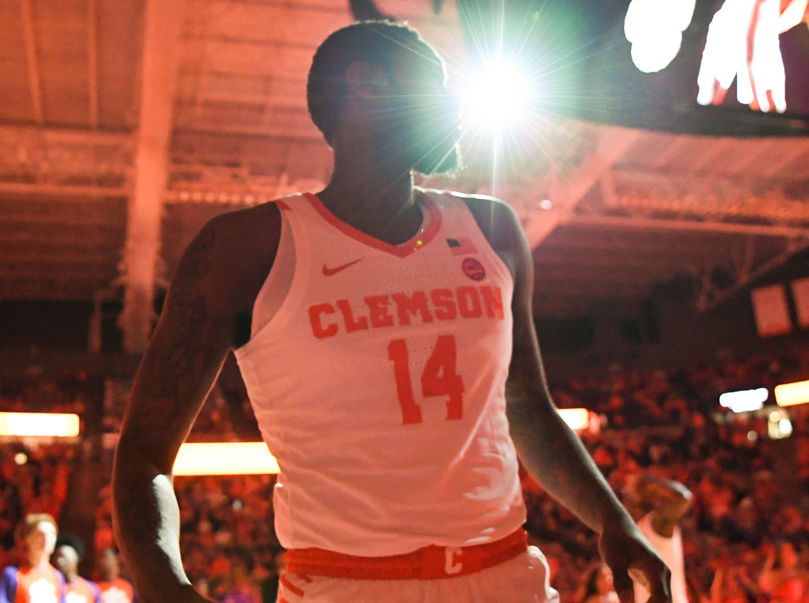 Clemson forward Elijah Thomas (14) is introduced before tipoff with Syracuse in Littlejohn Coliseum in Clemson Saturday, March 9, 2019.