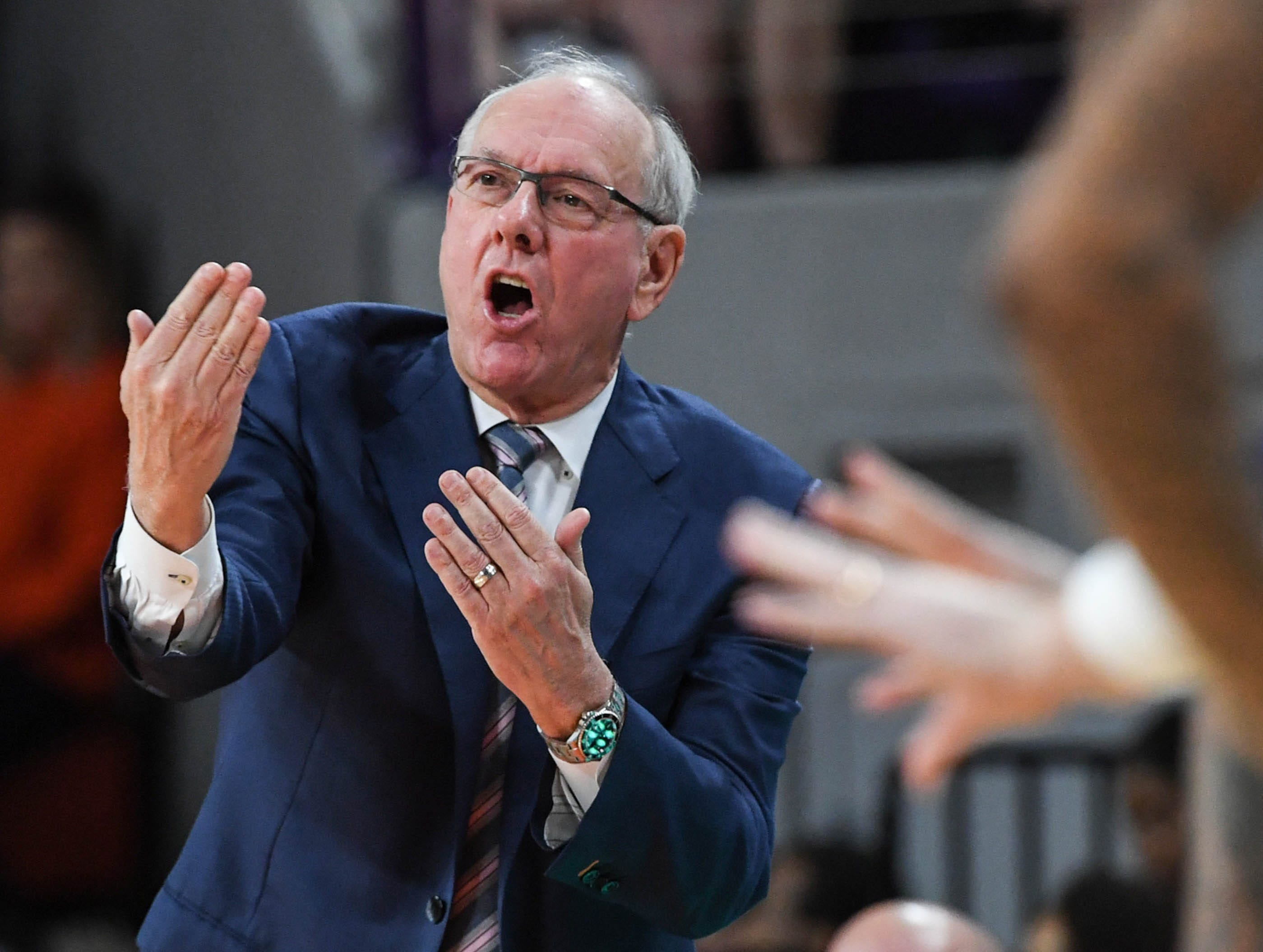 Syracuse head coach Jim Boeheim communicates with his players during the second half in Littlejohn Coliseum in Clemson Saturday, March 9, 2019.