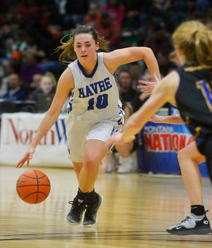Kyndall Keller of Havre drives to the basket against Laurel at the State A tournament in Great Falls last March.