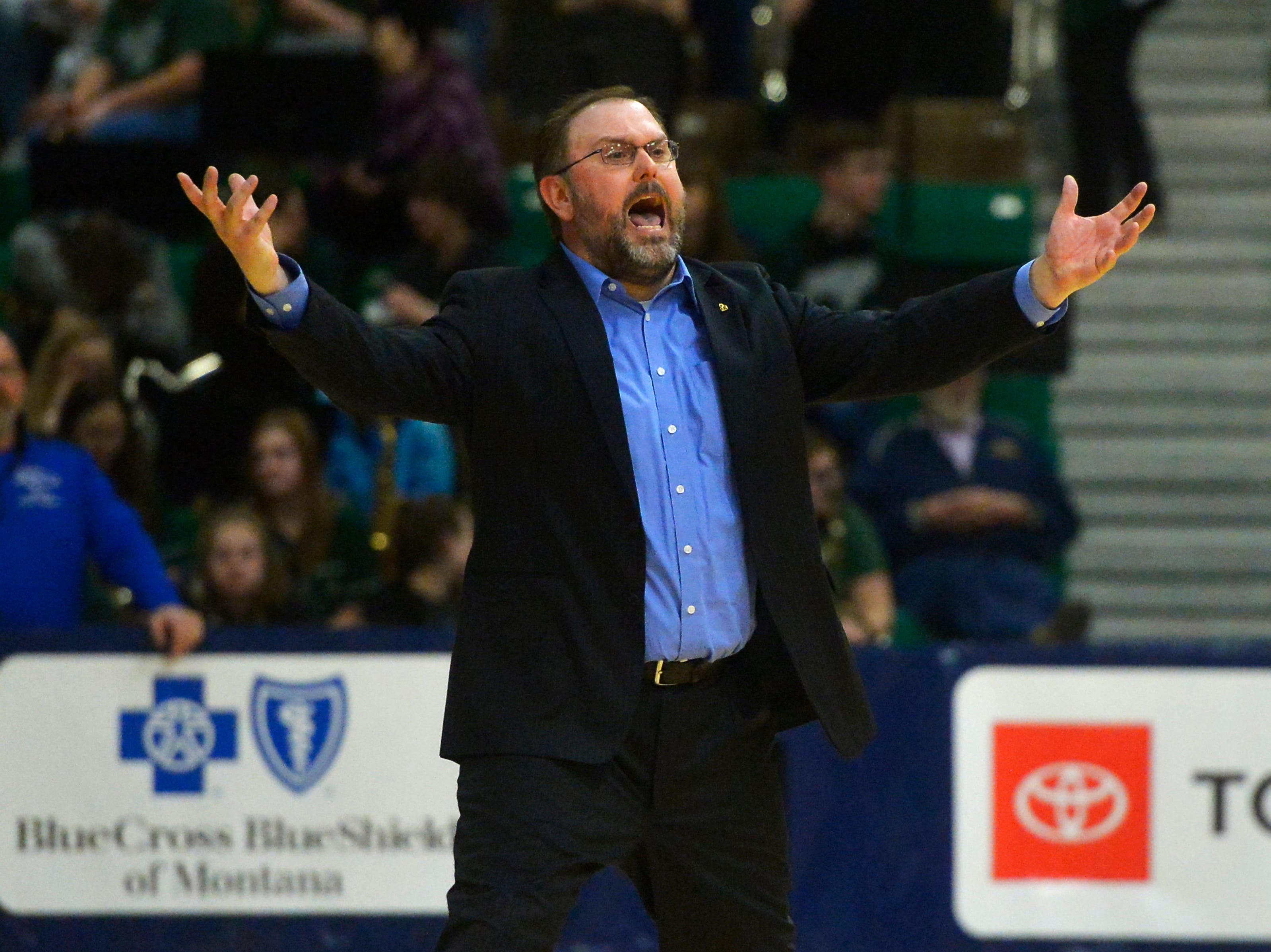 Havre coach Dustin Kraske shows his frustration with the referees in Friday's semifinal game against Laurel during the State Class A Basketball Tournament in the Four Seasons Arena, Friday.
