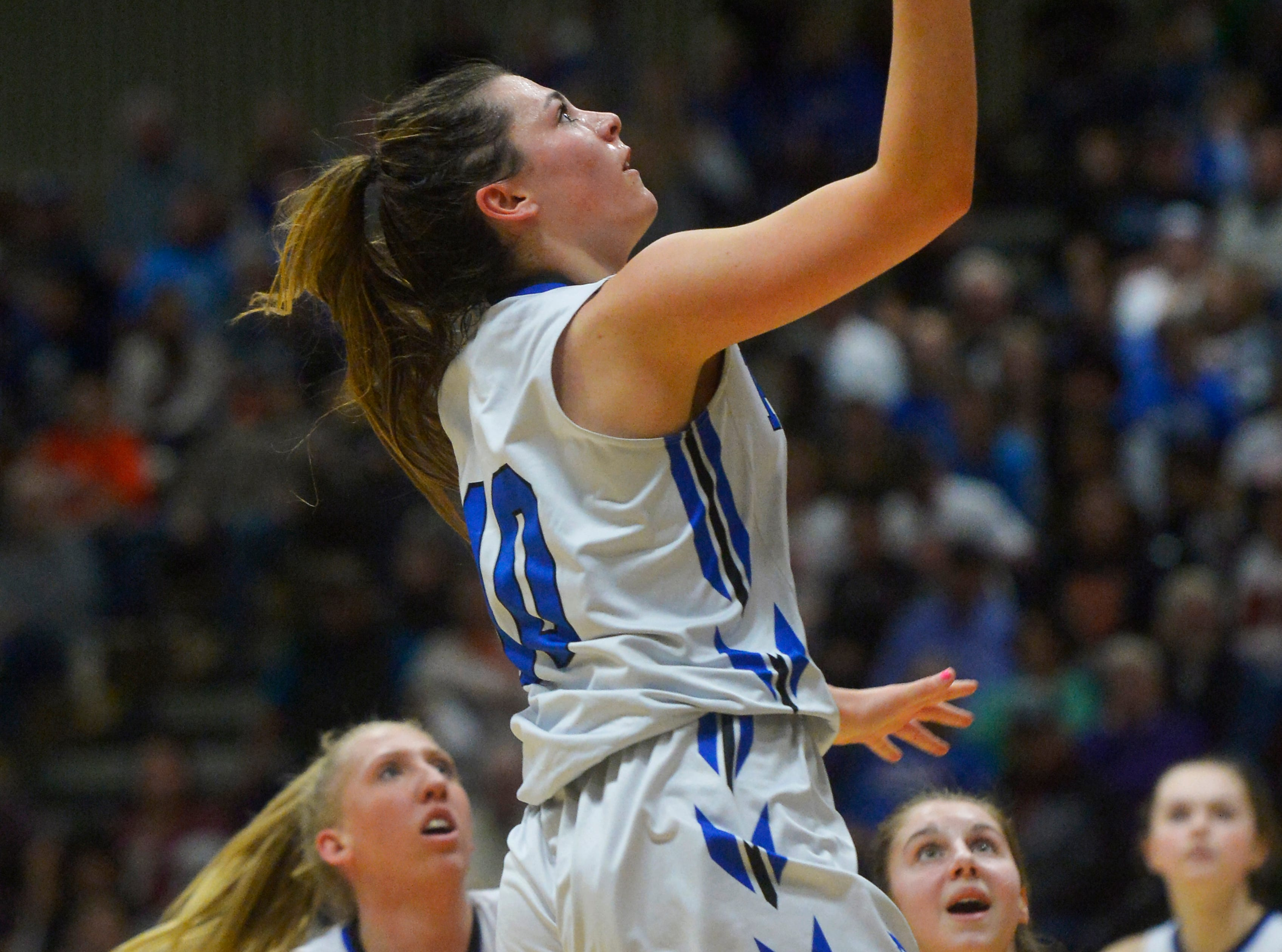 Havre's Kyndall Keller scores in the semifinal game against Laurel during the State Class A Basketball Tournament in the Four Seasons Arena, Friday.