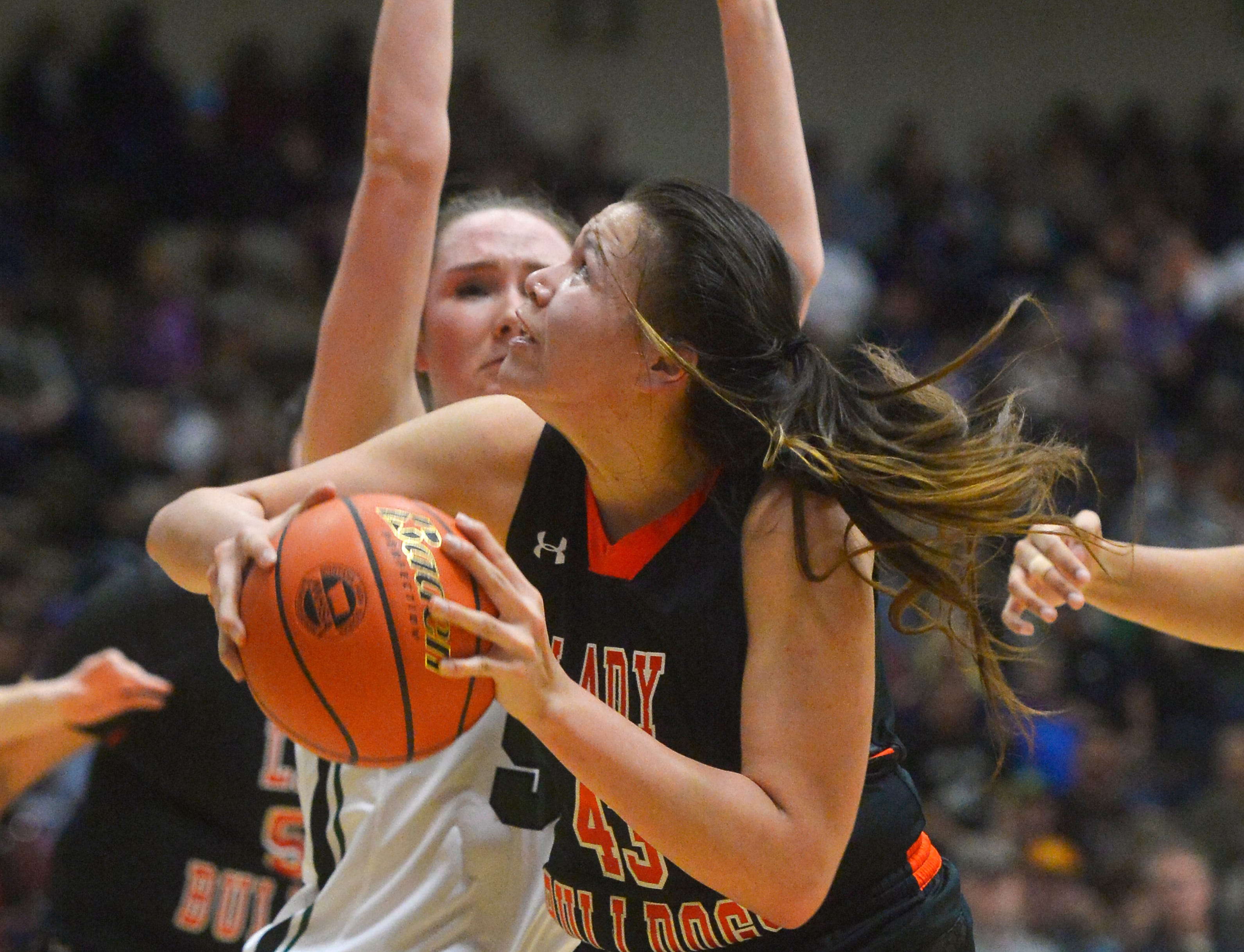 Hardin's Marie Five eyes the basket during the semifinal game against Billings Central during the State Class A Basketball Tournament in the Four Seasons Arena, Friday.