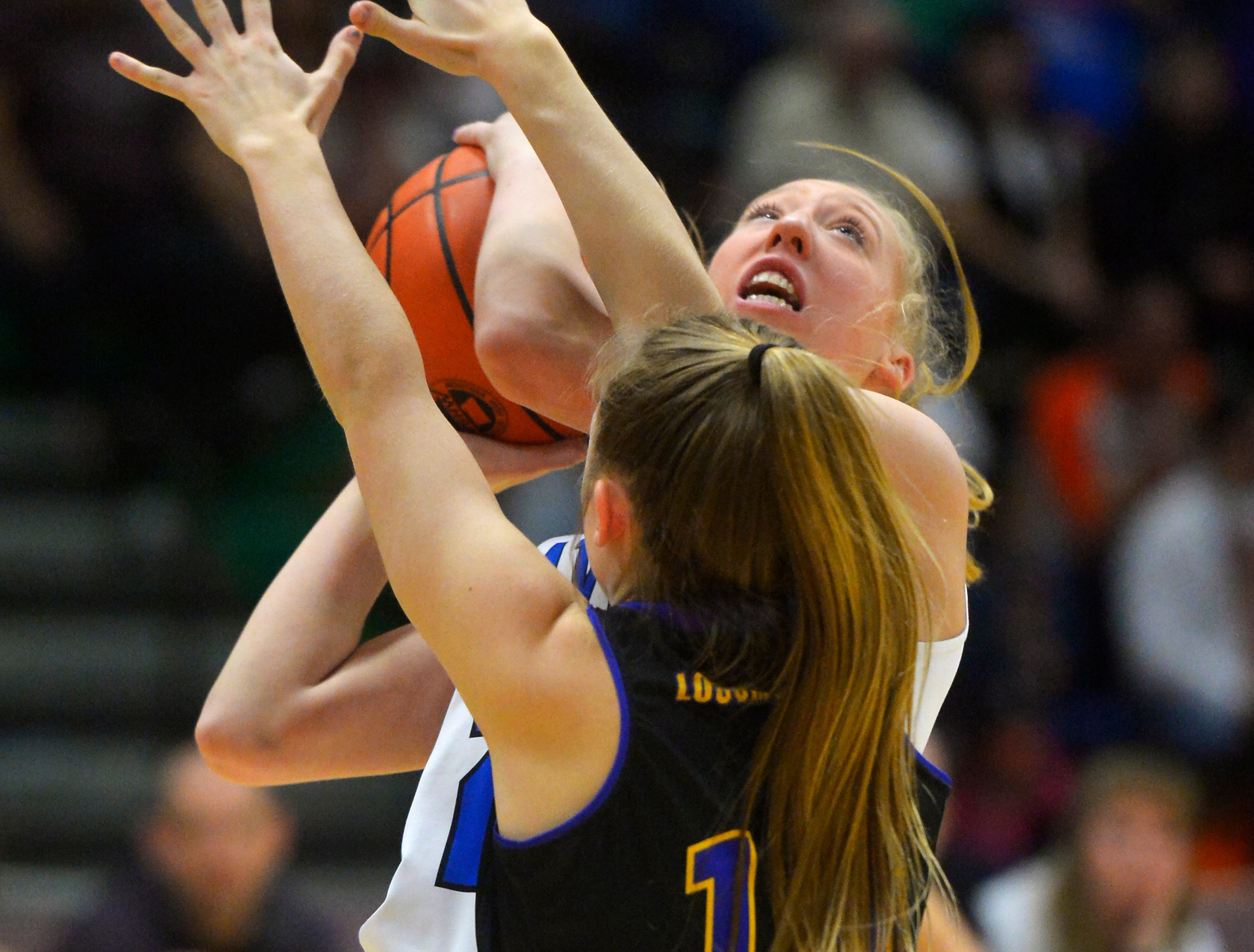 Havre's Kadia Miller shoots in Friday's semifinal game against Laurel during the State Class A Basketball Tournament in the Four Seasons Arena.