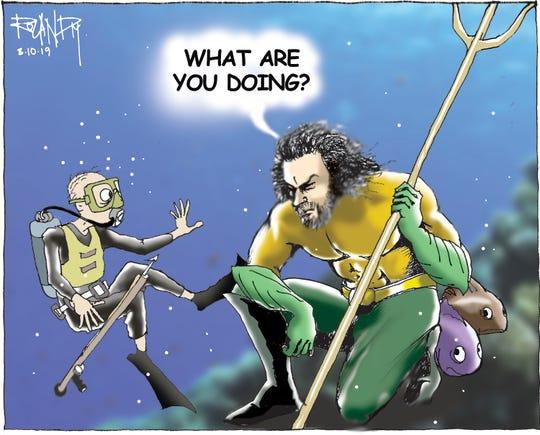 Sunday cartoon on scuba fishing