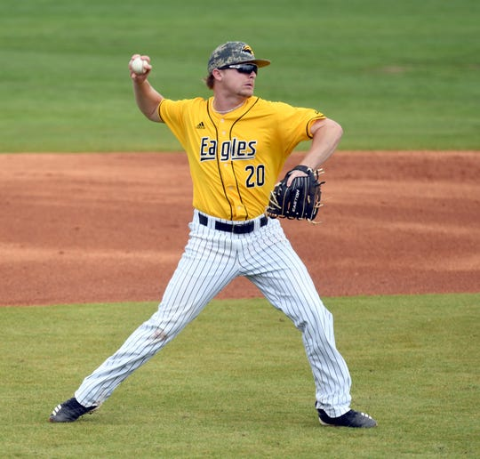 In this file photo, Southern Miss infielder Jacob Edwards throws the ball to first base in a game against Holy Cross at Pete Taylor Park.