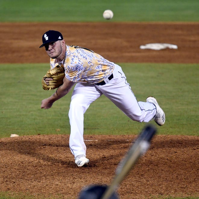 Southern Miss' pitcher Stevie Powers throws the ball in a game against Holy Cross at Pete Taylor Park on Friday, March 8, 2019.