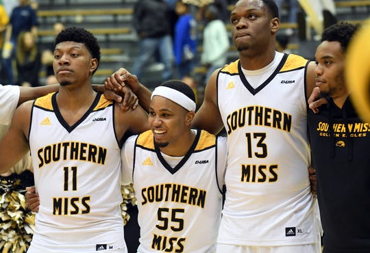 Southern Miss players celebrate in a game against UTSA in Reed Green Coliseum on Saturday, March 9, 2019.
