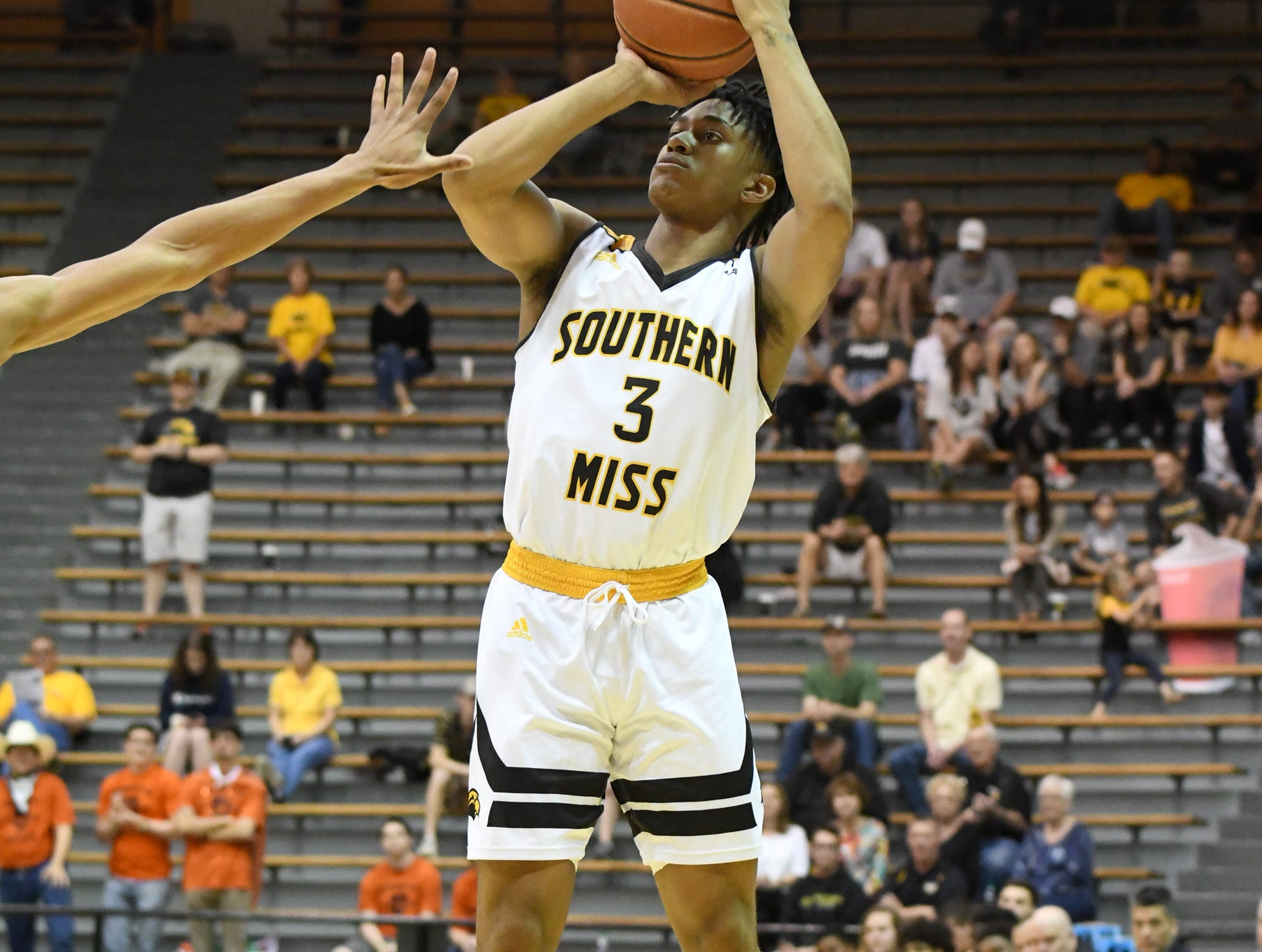 Southern Miss guard Gabe Watson shoots for the basket  in a game against UTSA in Reed Green Coliseum on Saturday, March 9, 2019.