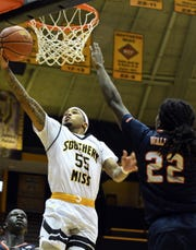 Southern Miss guard Tyree Griffin reaches for the basket in a game against UTSA in Reed Green Coliseum on Saturday, March 9, 2019. Griffin led the Golden Eagles with 23 points and eight assists in an 82-73 Conference USA quarterfinals victory over Marshall on Thursday night. Southern Miss takes on Western Kentucky at 3 p.m. Friday.