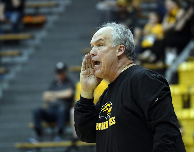 Southern Miss head coach Doc Sadler yells to his players in a game against UTSA in Reed Green Coliseum on Saturday, March 9, 2019. This season, Sadler led the Golden Eagles to their first winning season since the 2011-12 season (not counting wins earned in seasons under former head coach Donnie Tyndall, which were vacated by the NCAA.)
