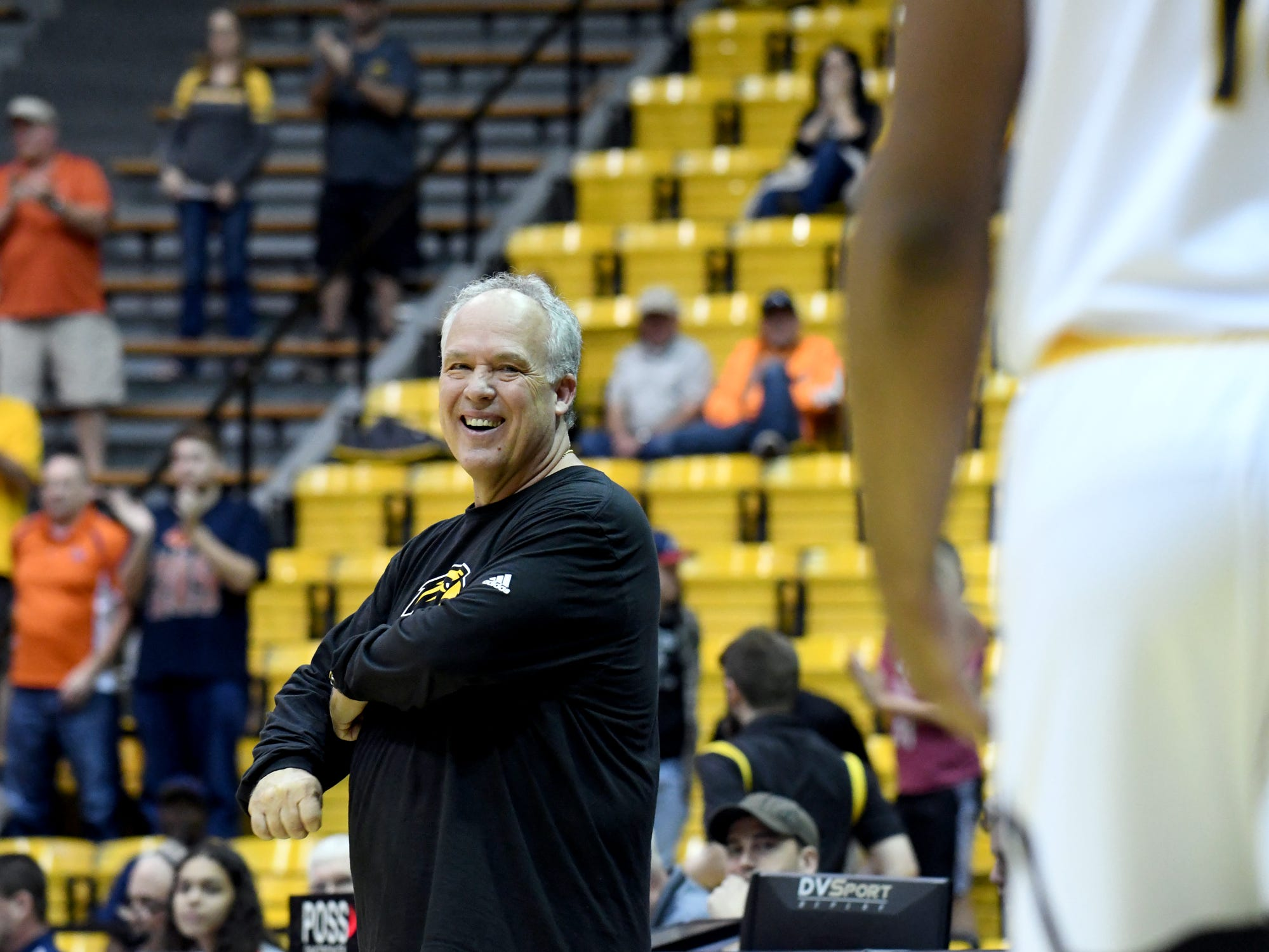 Southern Miss head coach Doc Sadler smiles after beating  UTSA in Reed Green Coliseum on Saturday, March 9, 2019.