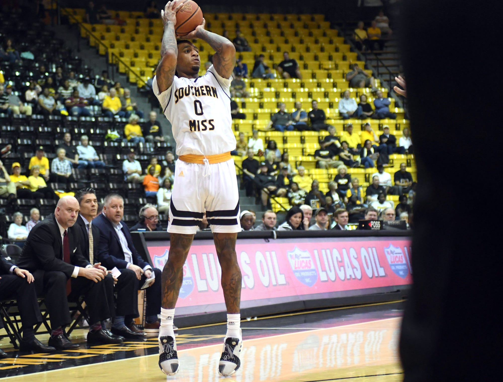 Southern Miss guard Dominic Magee shoots for the basket in a game against UTSA in Reed Green Coliseum on Saturday, March 9, 2019.