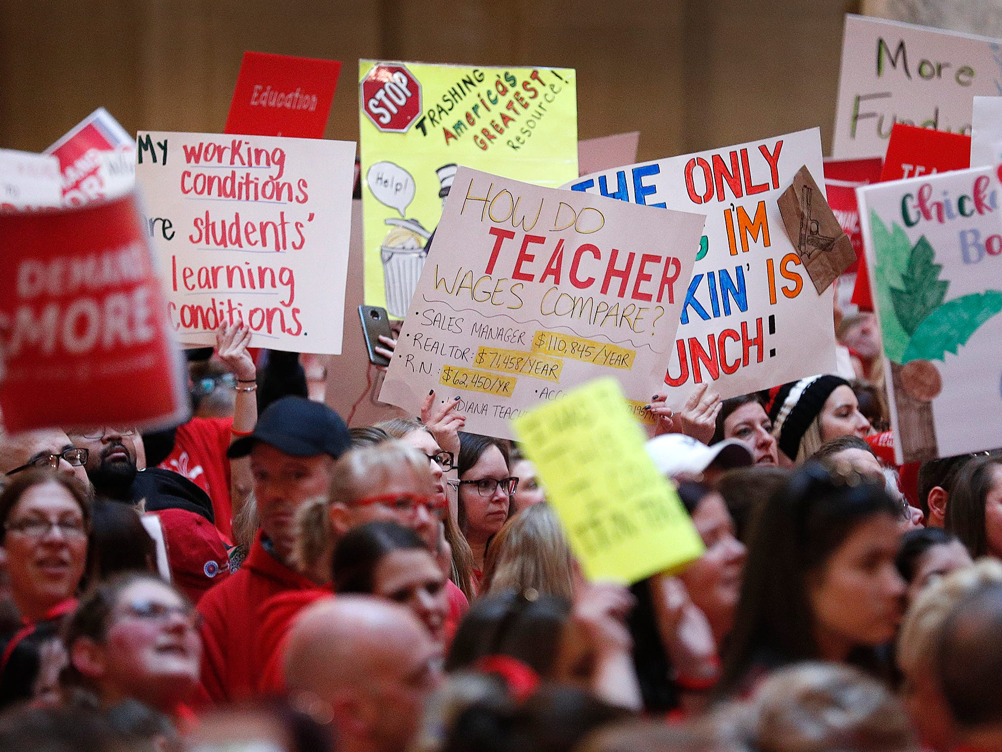 Thousands turned out for the Indiana Red for Ed Rally at the Indiana Statehouse on Saturday, Mar 9, 2019. Teachers, educators and supporters were on hand to support public education and demand lawmakers provide more resources for our kids and increased pay for teachers.