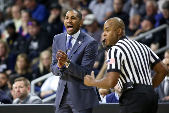 Butler Bulldogs head coach LaVall Jordan reacts during the first half against the Providence College Friars at Dunkin Donuts Center.