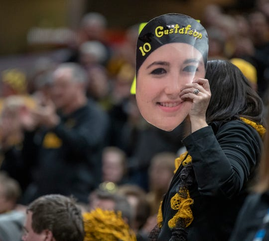 A fan shows her allegiance to the Hawkeyes and Megan Gustafson, Indiana vs. Iowa, Women's Big Ten Tournament, Bankers Life Fieldhouse, Indianapolis, Friday, March 8, 2019. Iowa won 70-61.