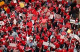 Thousands attend the Red for Ed rally at the Indiana State House