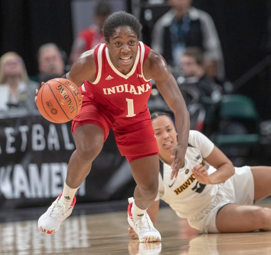 Bendu Yeaney of the Indiana Hoosiers comes up with a first half steal, Indiana vs. Iowa, Women's Big Ten Tournament, Bankers Life Fieldhouse, Indianapolis, Friday, March 8, 2019.
