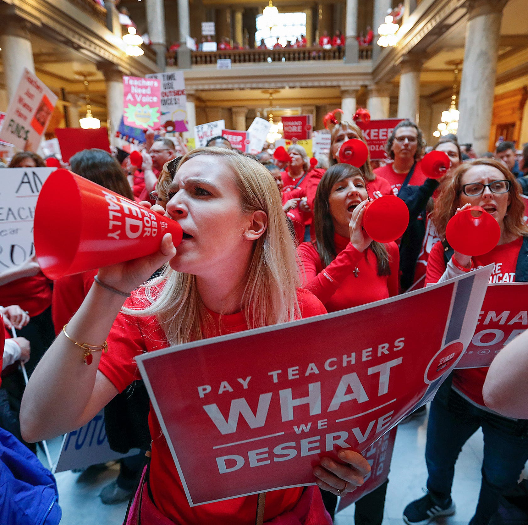 West Lafayette, Lafayette teachers testify at Statehouse budget hearing