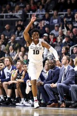 Providence College Friars guard A.J. Reeves (10) reacts during the first half against the Butler Bulldogs at Dunkin Donuts Center.