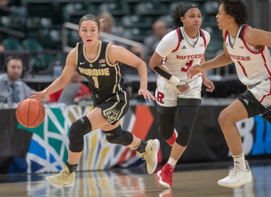Karissa McLaughlin of the Purdue Boilermakers works a fast break play during game action, Rutgers vs. Purdue, Women's Big Ten Tournament, Bankers Life Fieldhouse, Indianapolis, Friday, March 8, 2019. Rutgers won 64-49,.